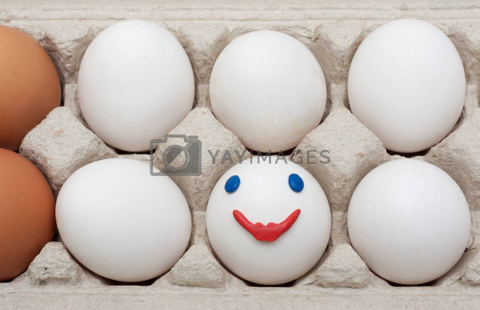Egg in packing with funny person, smile
