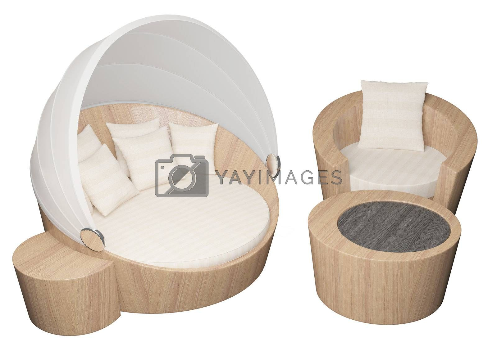 3D illustration of a wooden armchair and sofa with cushions, isolated against a white background