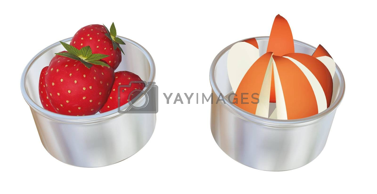 Aluminum or stainless steel dessert cups with whole strawberries and apple wedges, 3D illustration, isolated against a white background