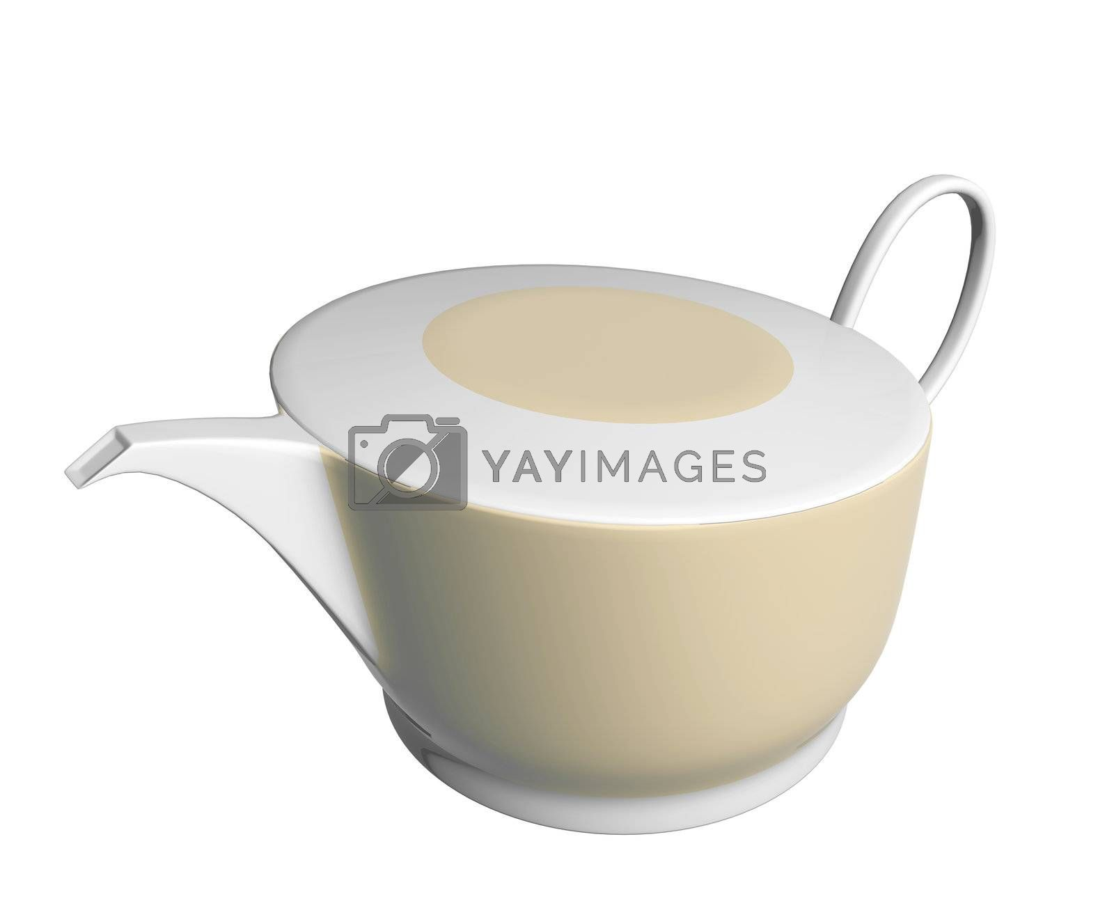 White and beige ceramic tea pot, 3D illustration, isolated against a white background