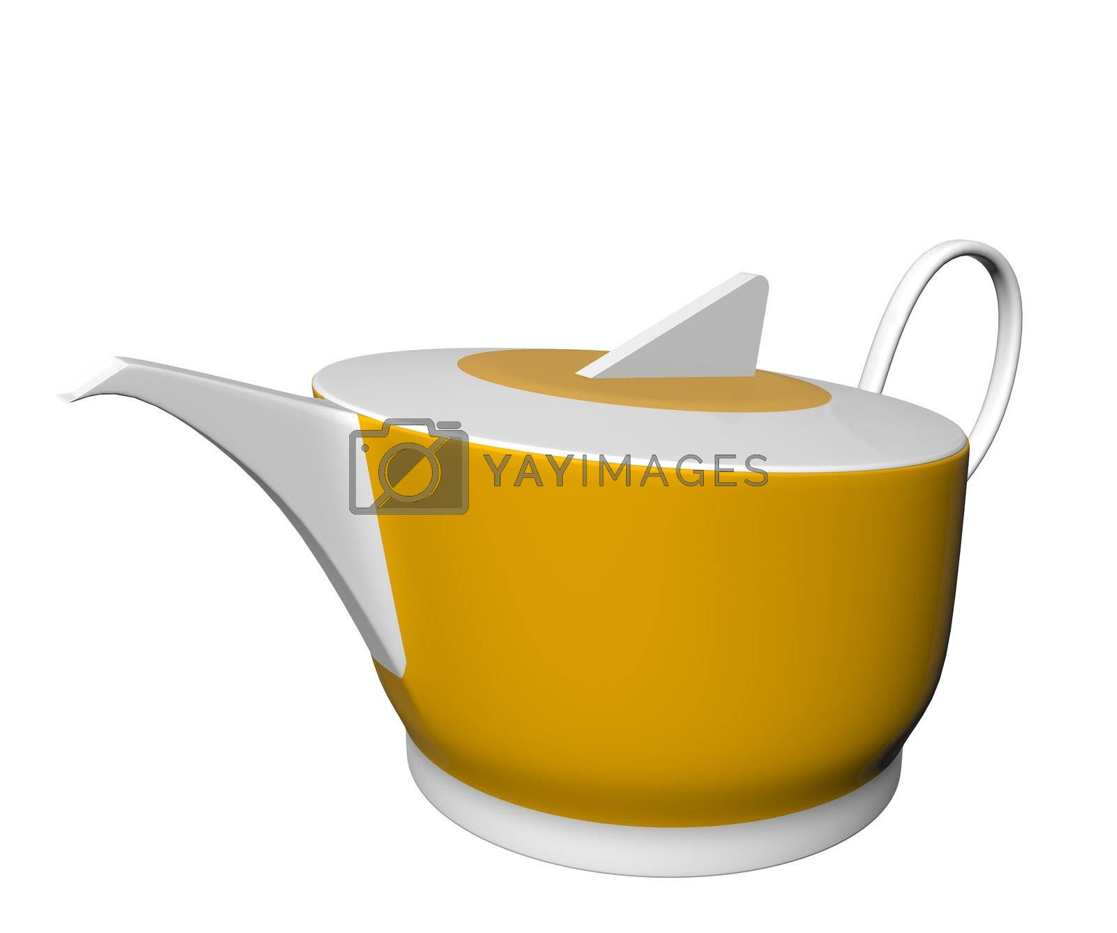 White and yellow ceramic tea pot, 3D illustration, isolated against a white background