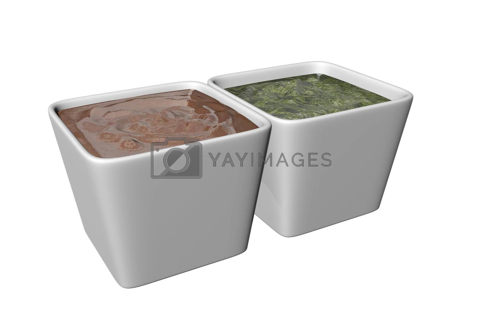 Ceramic square shaped dipping bowls with brown and green sauces, 3D illustration, isolated against a white background