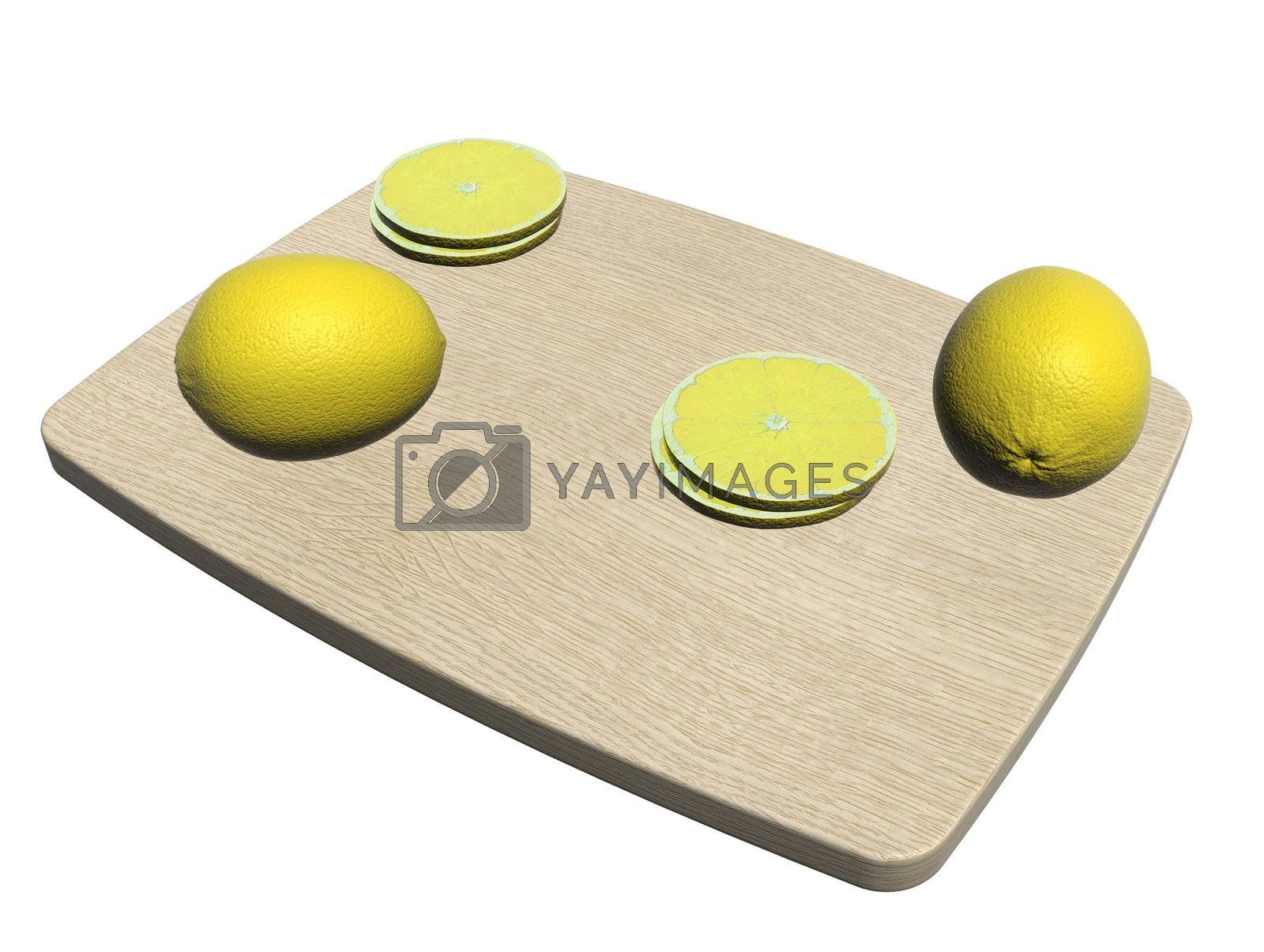 Rectangular wooden utting board with whole and sliced lemon, 3d illustration, isolated against a white background