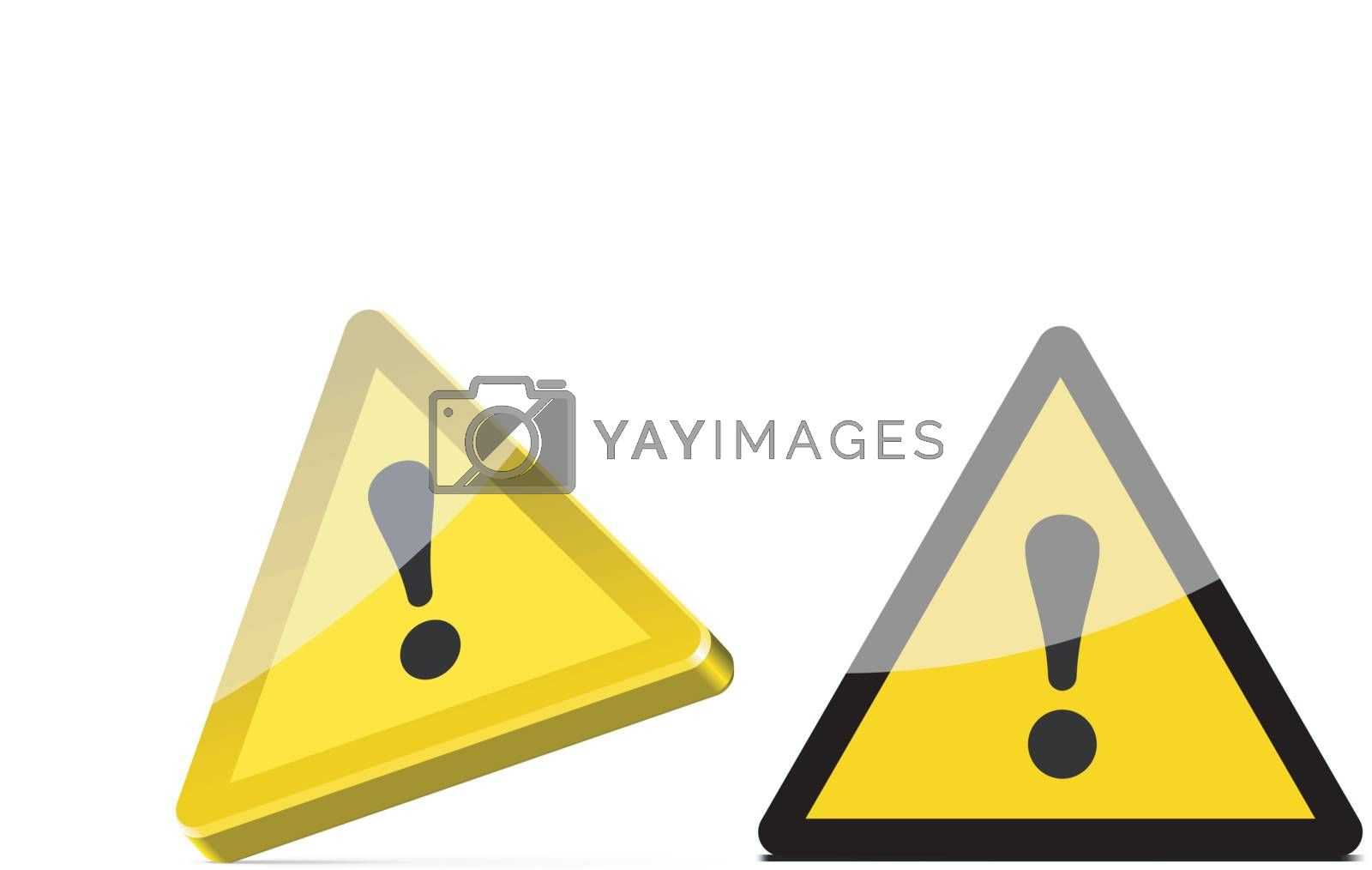 triangular warning sign isolated on white background