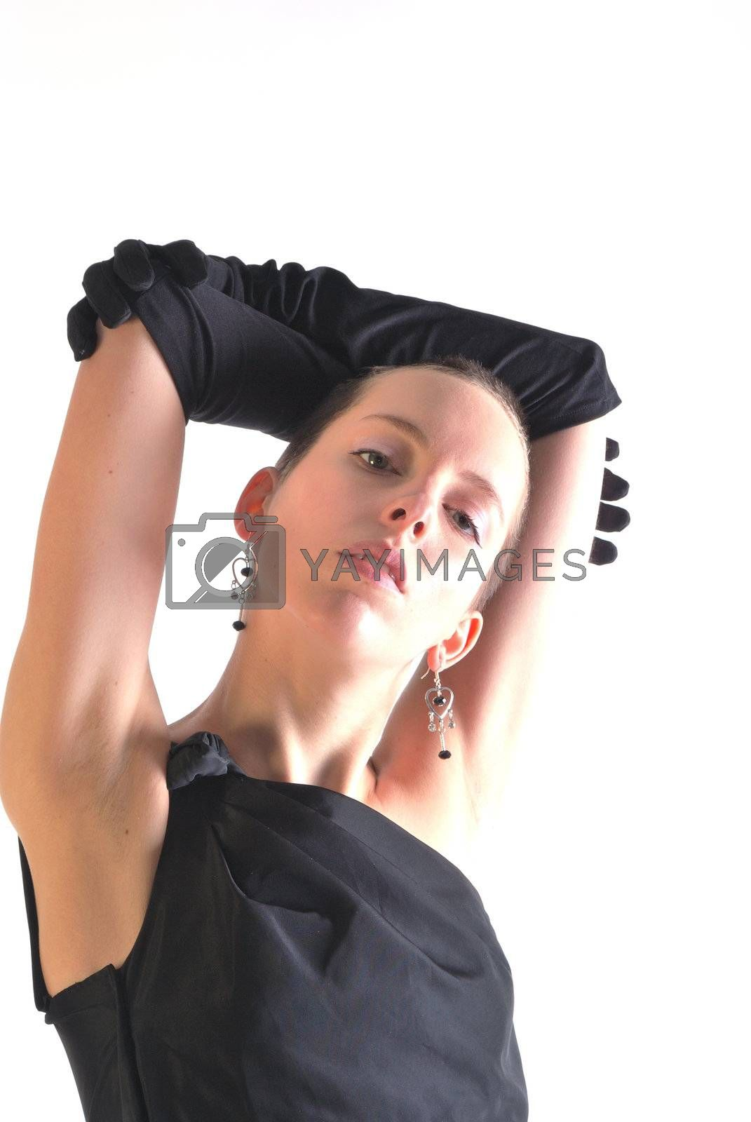 Woman in black dress and gloves