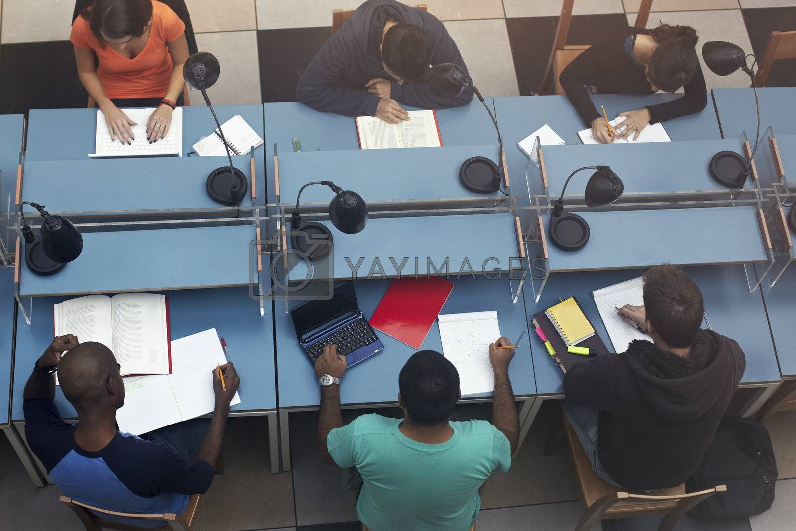 group of college students sitting on desks in library. Horizontal shape, high angle view