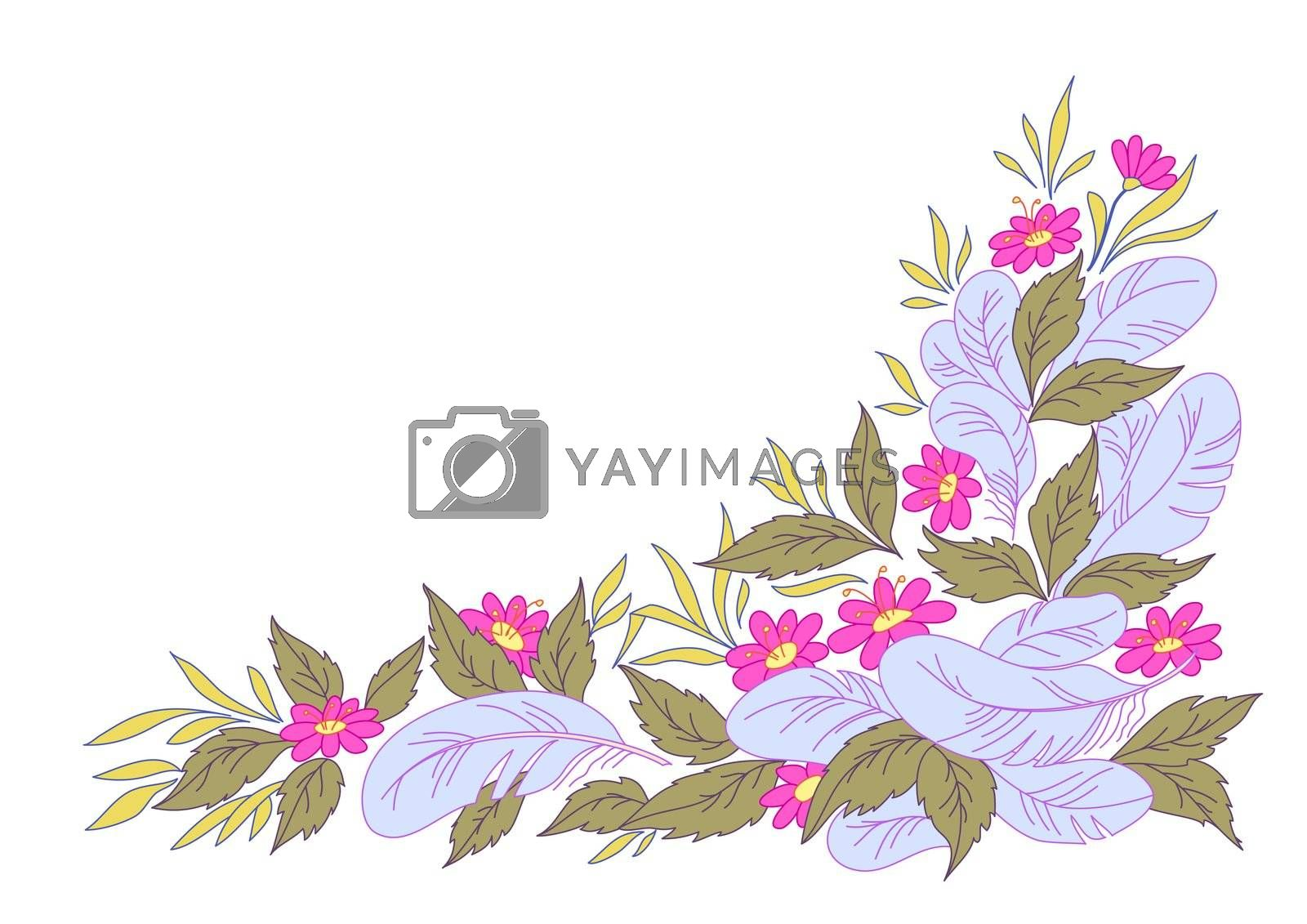 abstract summer background: leaves, flowers and feathers on the white