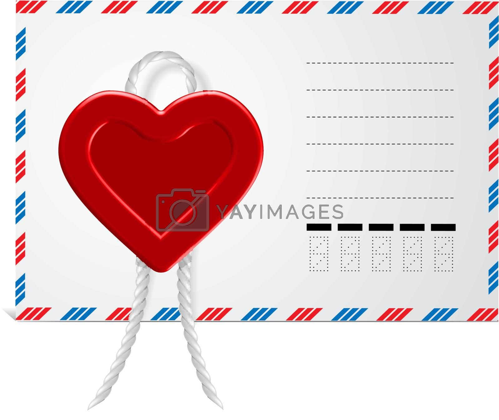 Envelope With Wax Seal in form hearts, Isolated On White Background