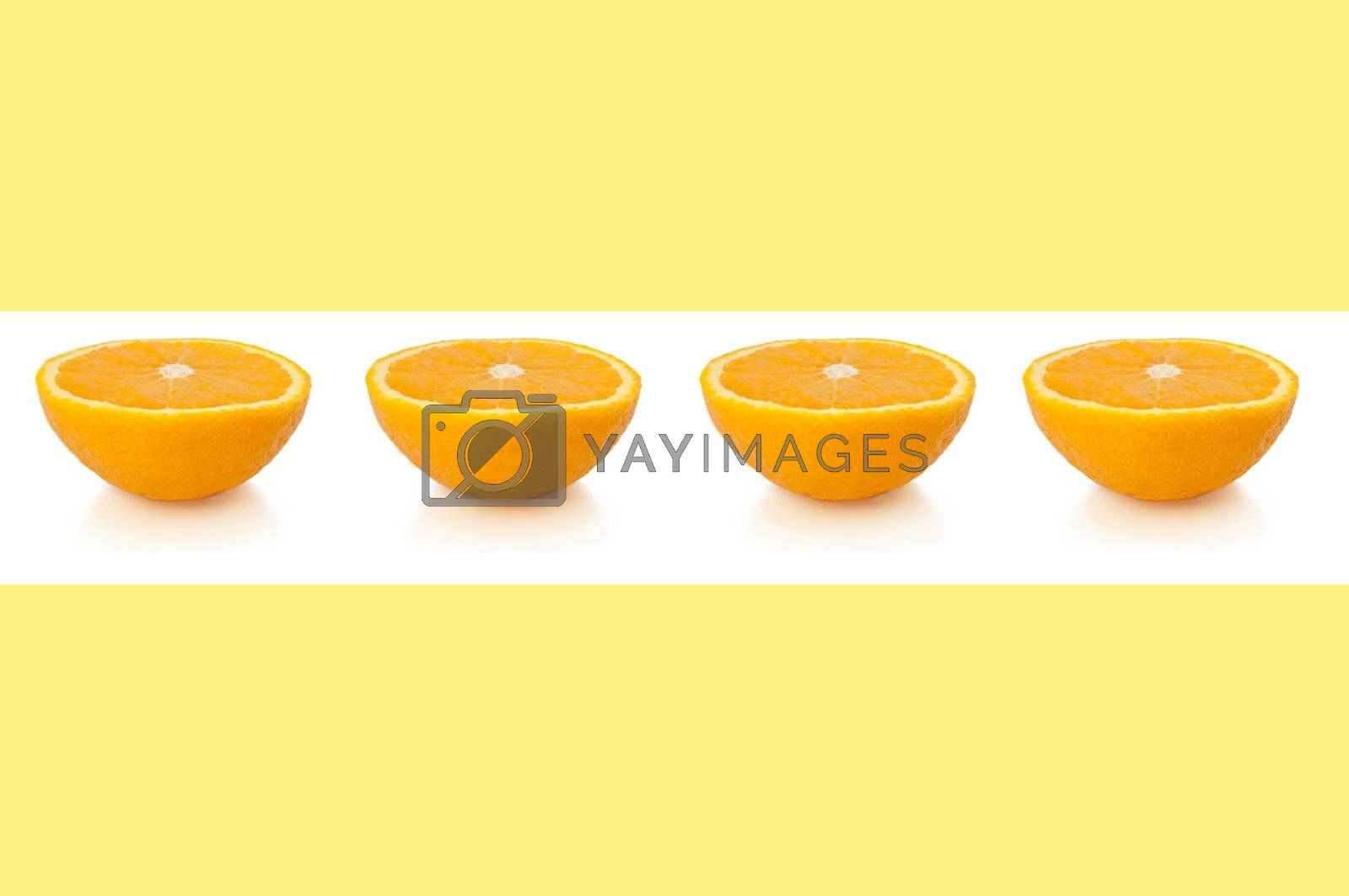 A line of small orange halves over white horizontal band against a pale yellow background.