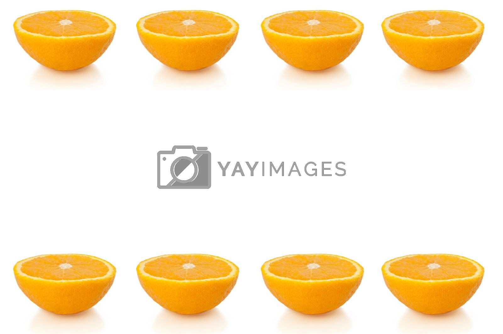 Eight small orange halves arranged in horizontal lines along the bottom and top of the image and over white.