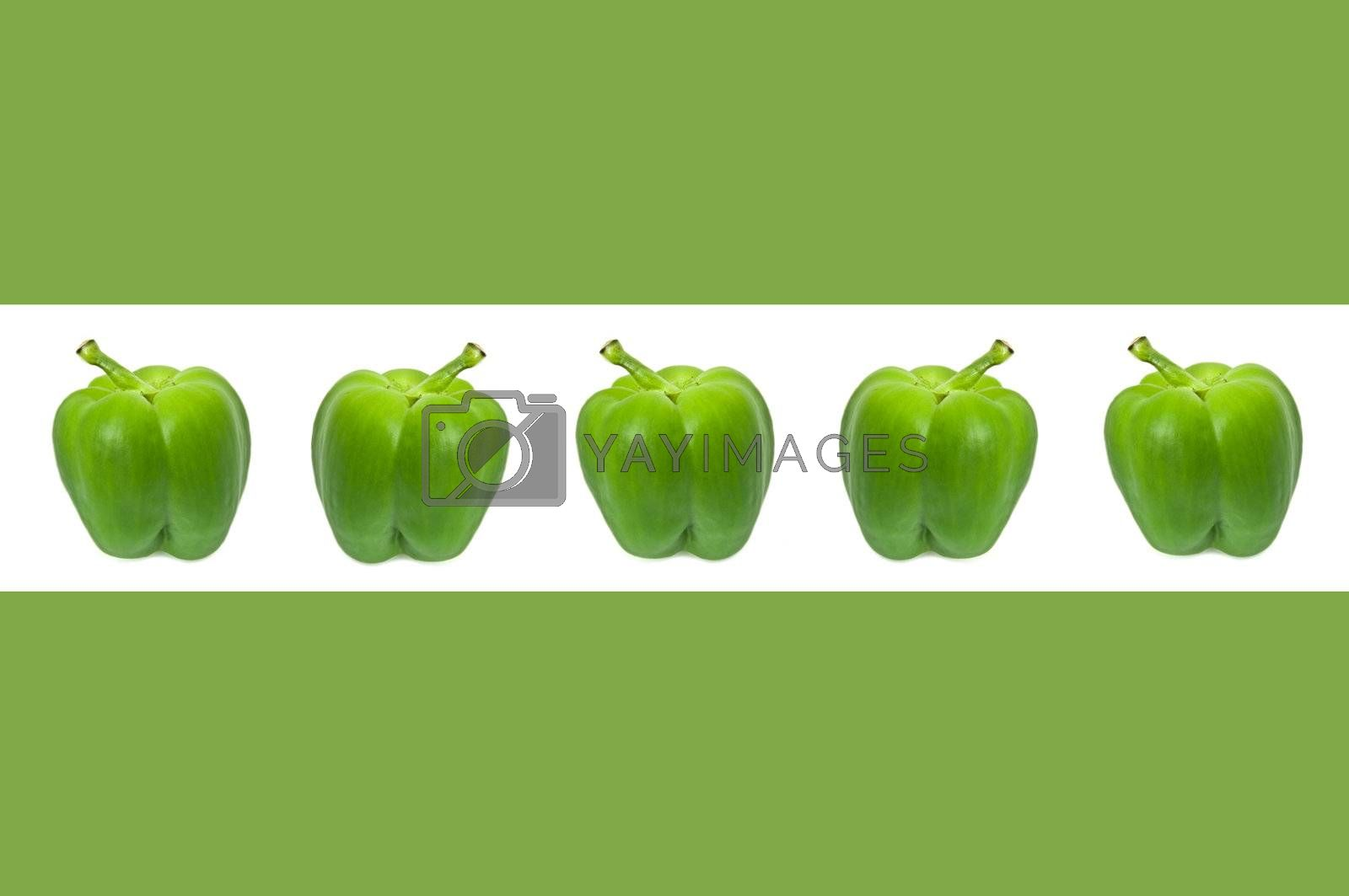 A horizontal white border accross the centre of a green image containing five small green bell peppers.
