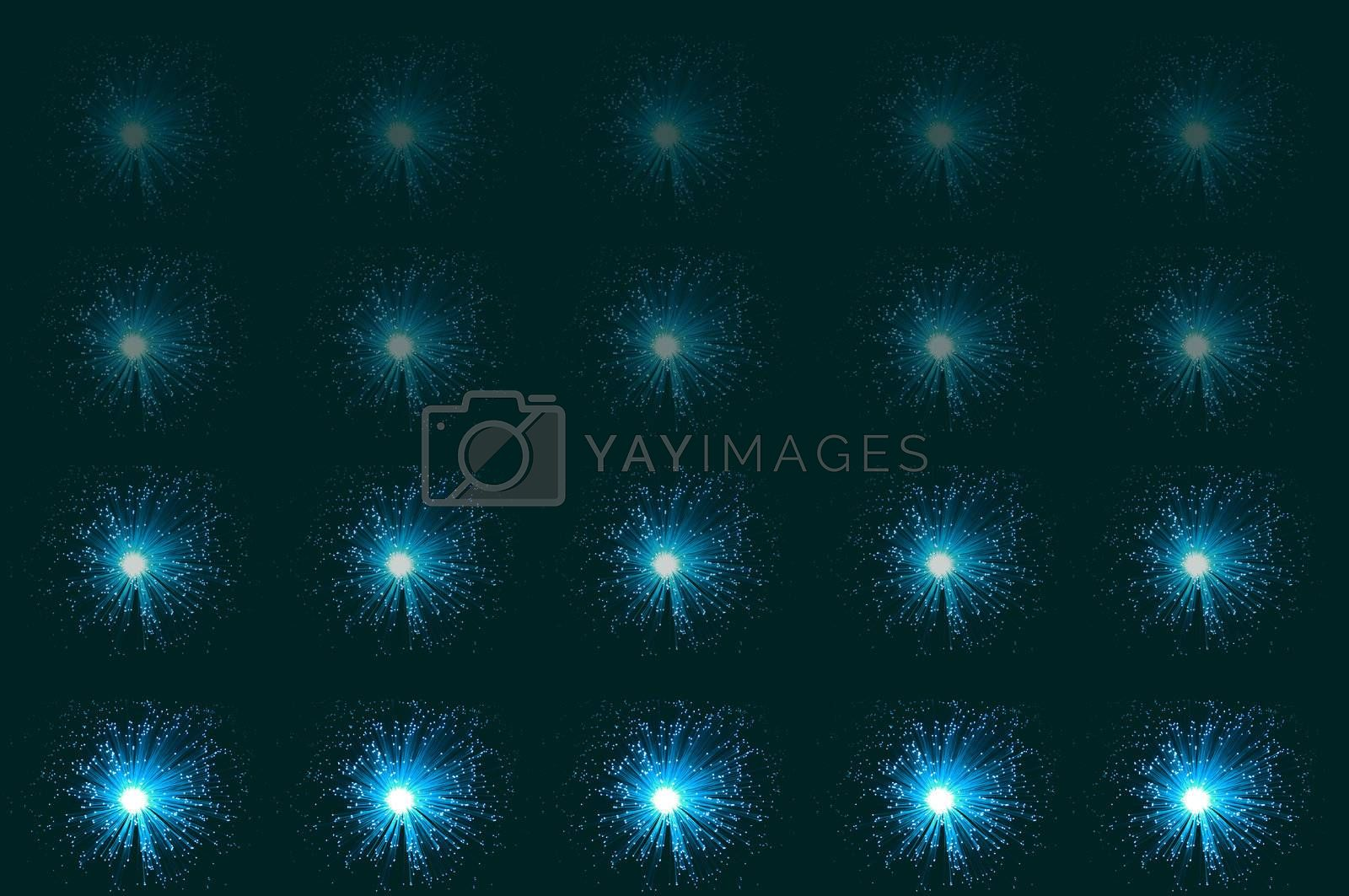 Twenty small illuminated aqua coloured fibre optic lamps in horizontal line formations with each line fading progressively towards the top of the image. Aqua-green background.