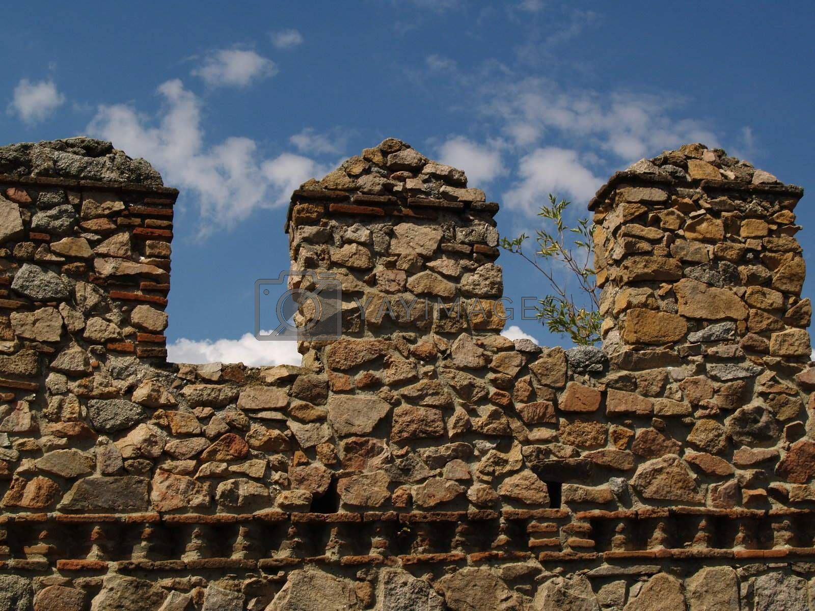View on a part of the wall of Avila, Spain