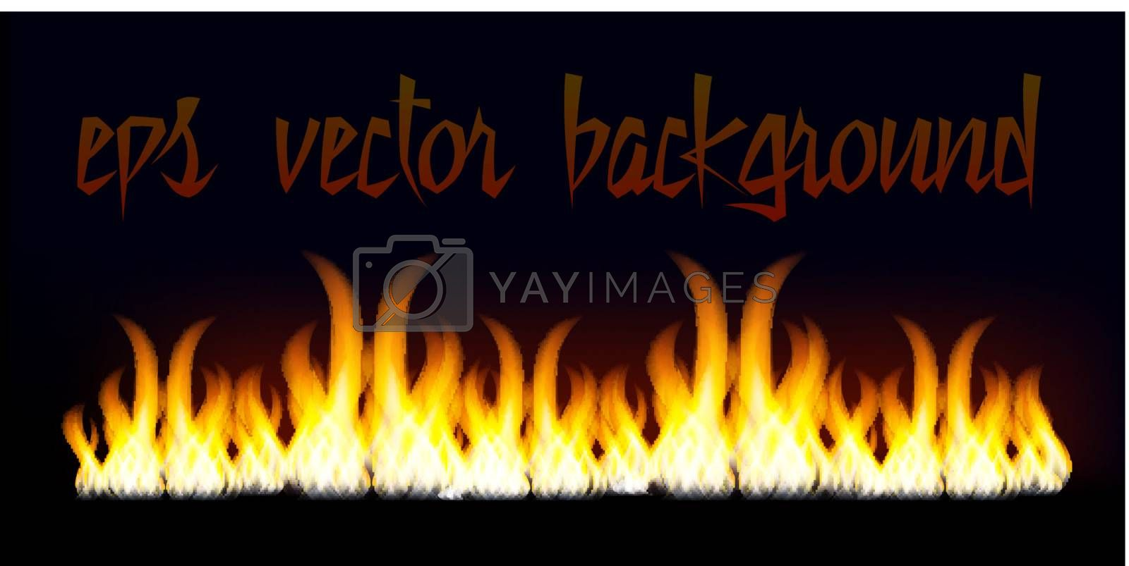 Burn flame fire vector background isolated on black background