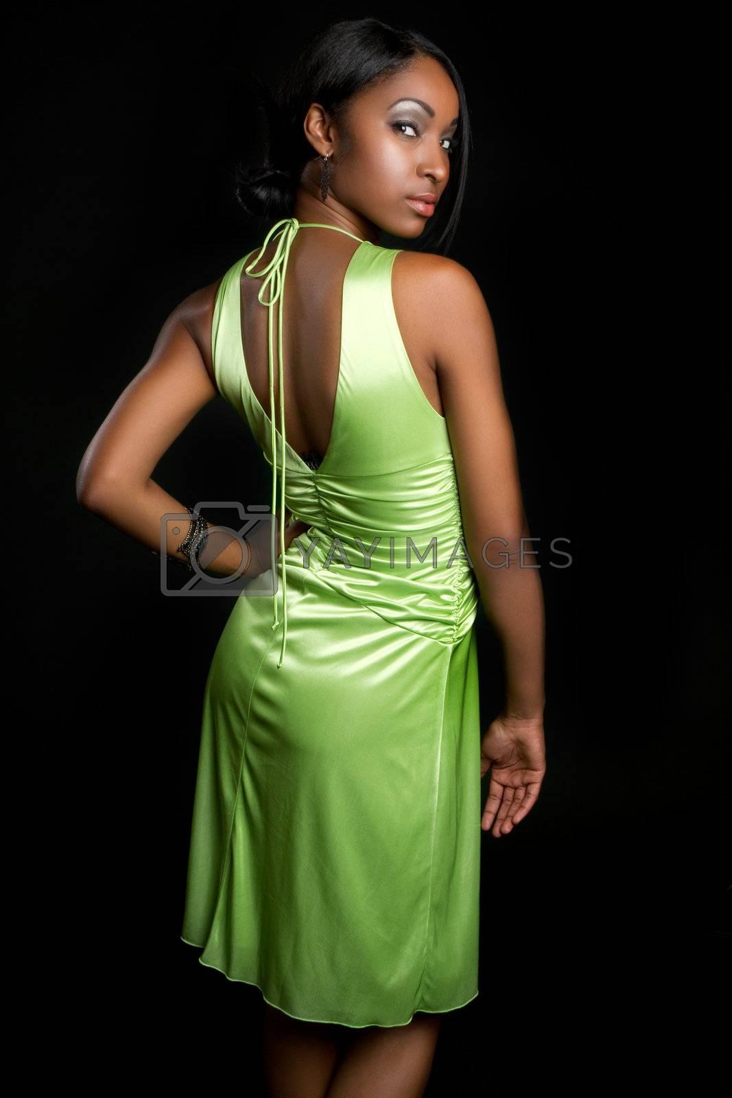 Beautiful black woman wearing dress