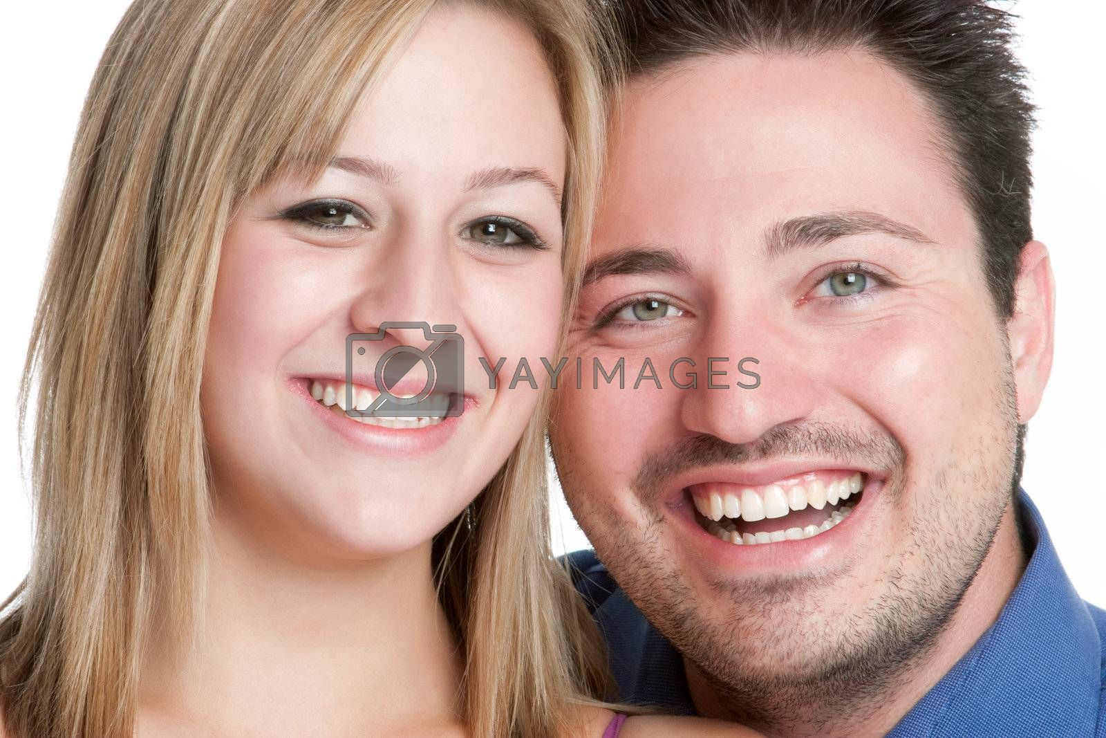 Smiling young man woman couple