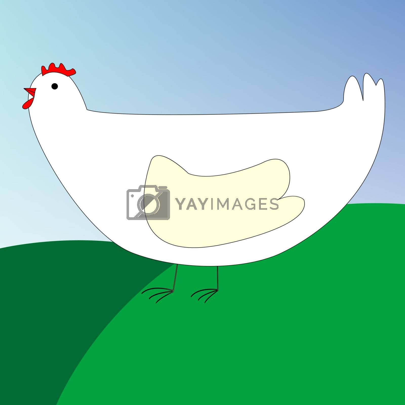 drawing of a chicken, vector art illustration; you can see more animal and bird drawings in my gallery.