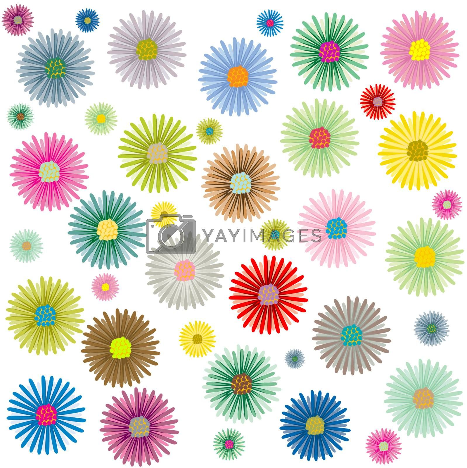 colored flowers pattern isolated on white background, vector art illustration; more patterns in my gallery