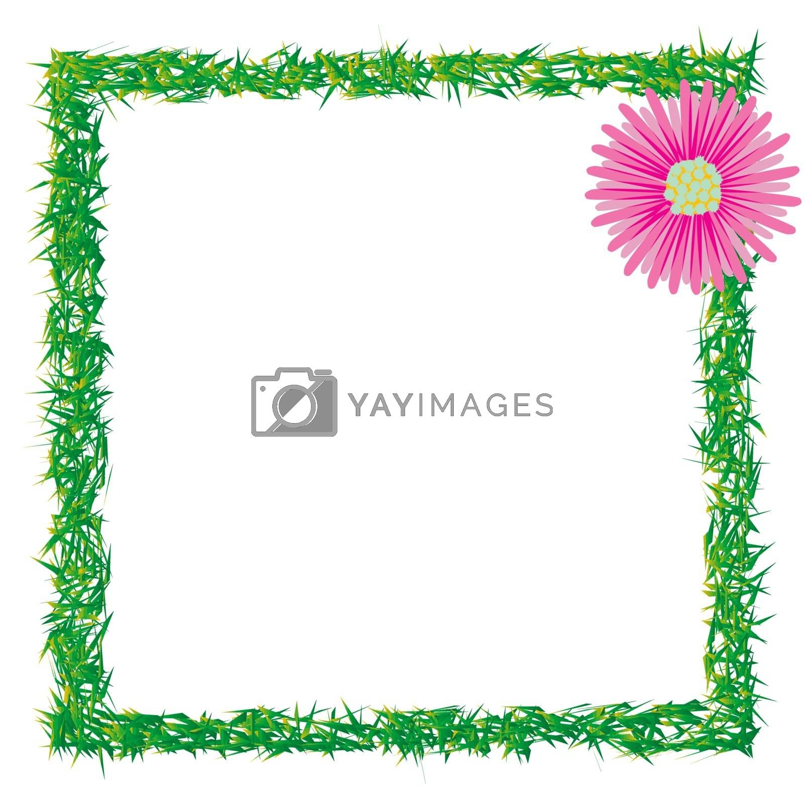 grass and flower photo frame, abstract art illustration