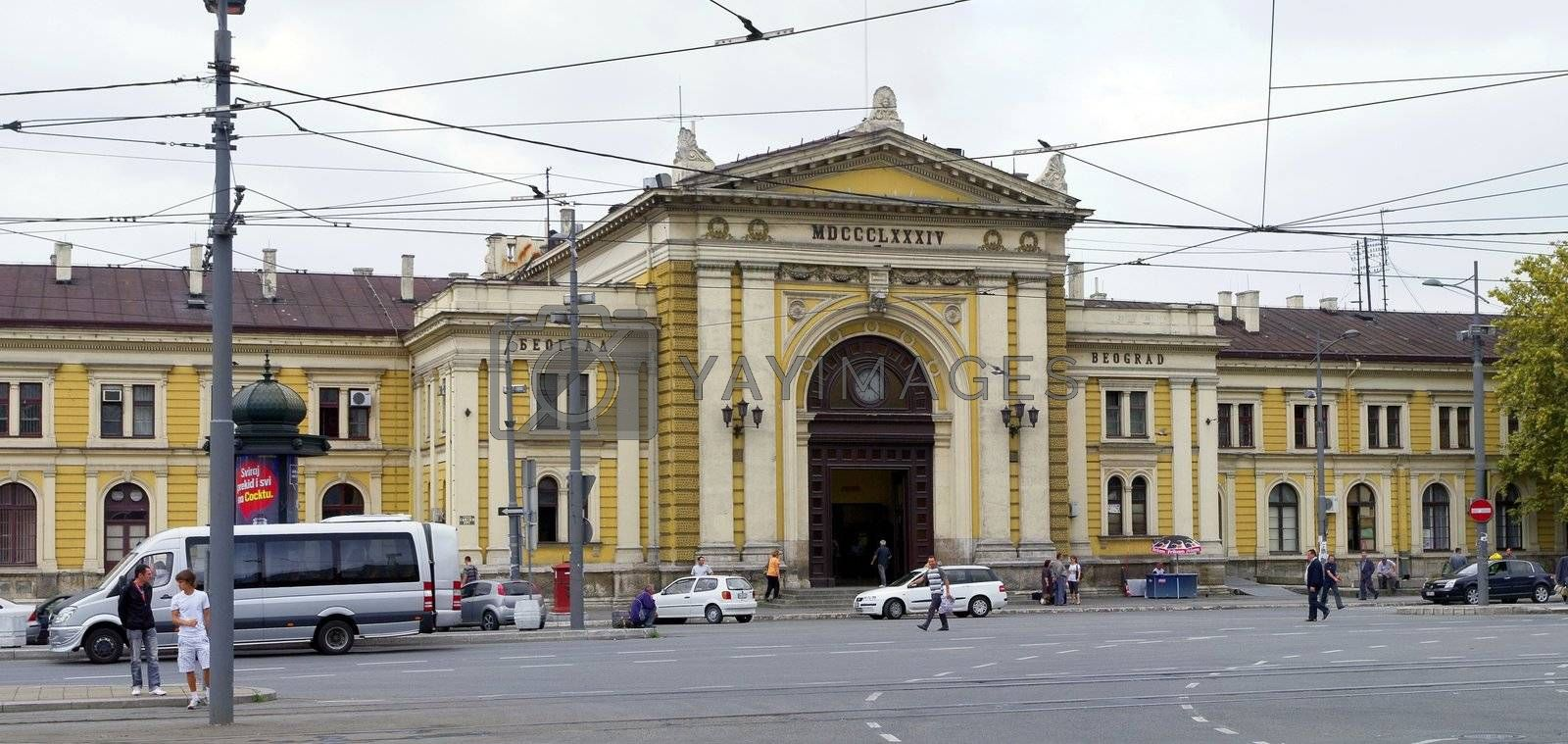 Old railway station building in Belgrade, Serbia
