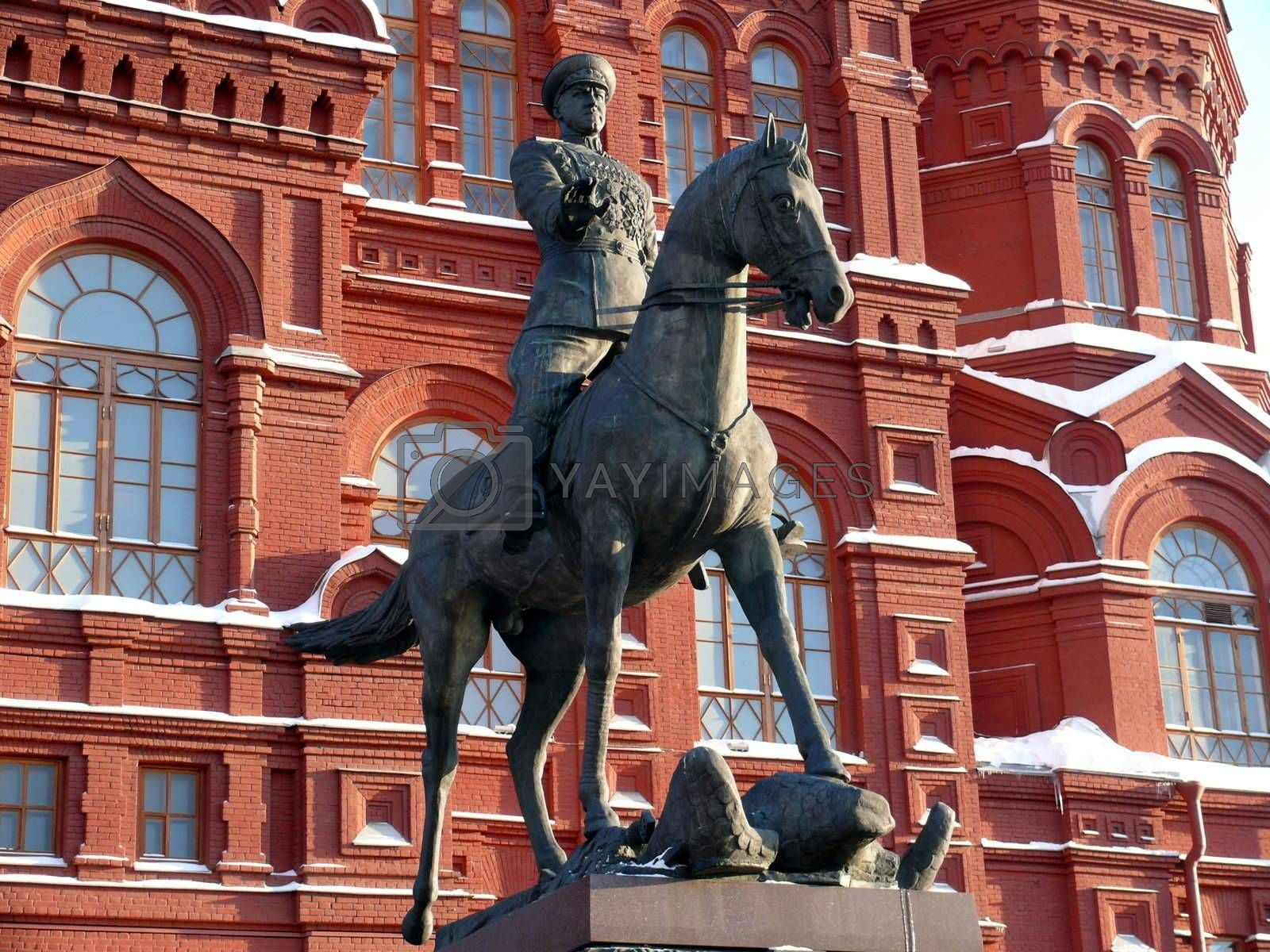 Zhukov monument near National historic musium in Moscow, Russia