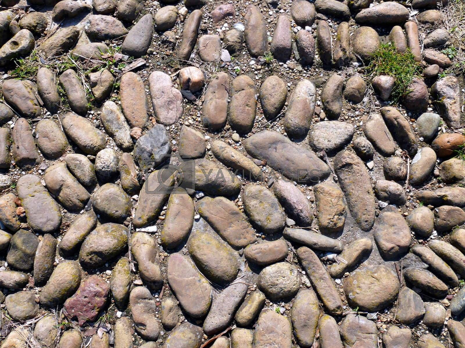 texture of a pebble sidewalk