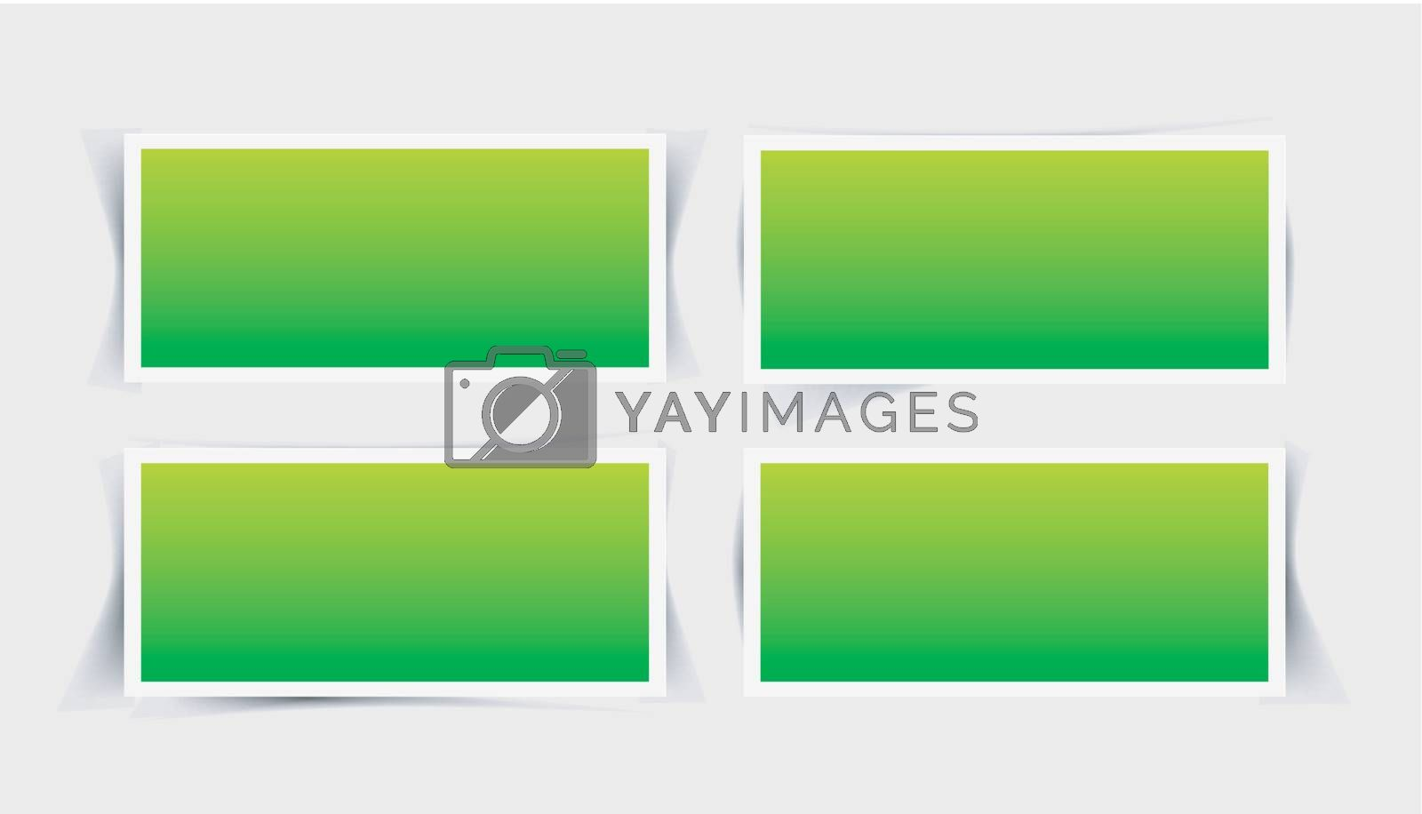 Vector set instant photo frames with different shade forms on gray background