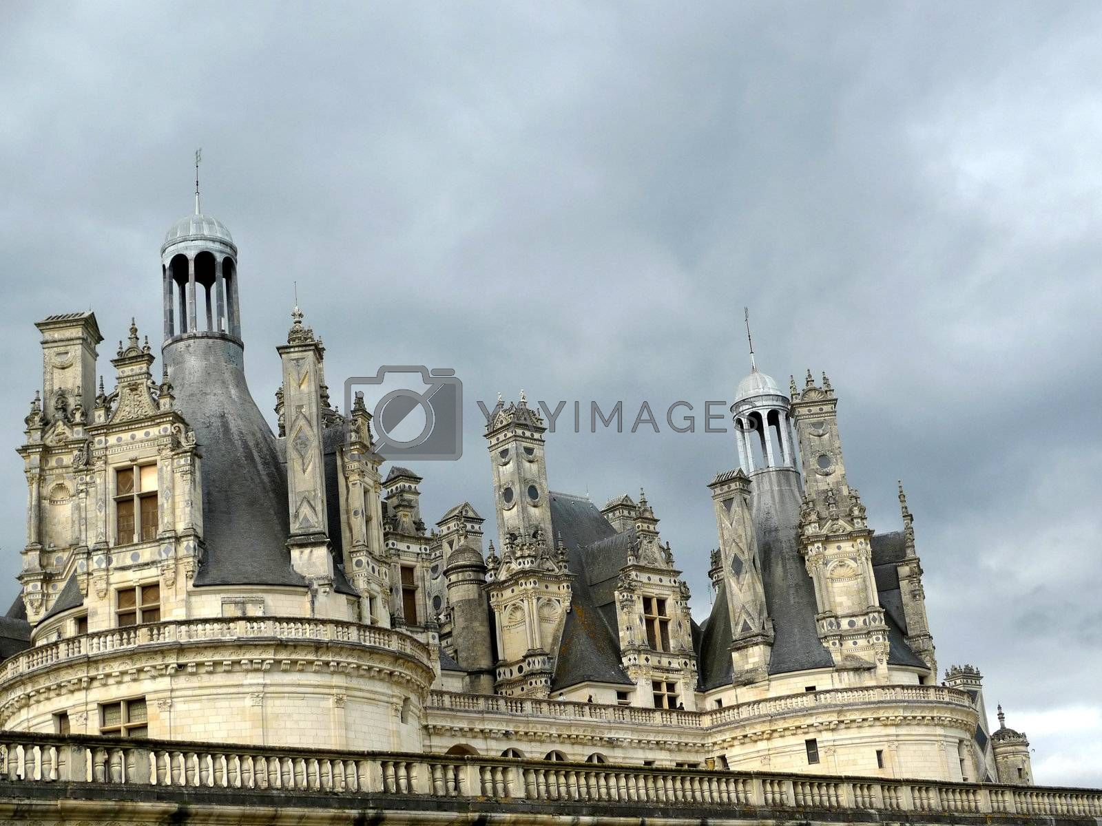 rooftop o f a chateau in france