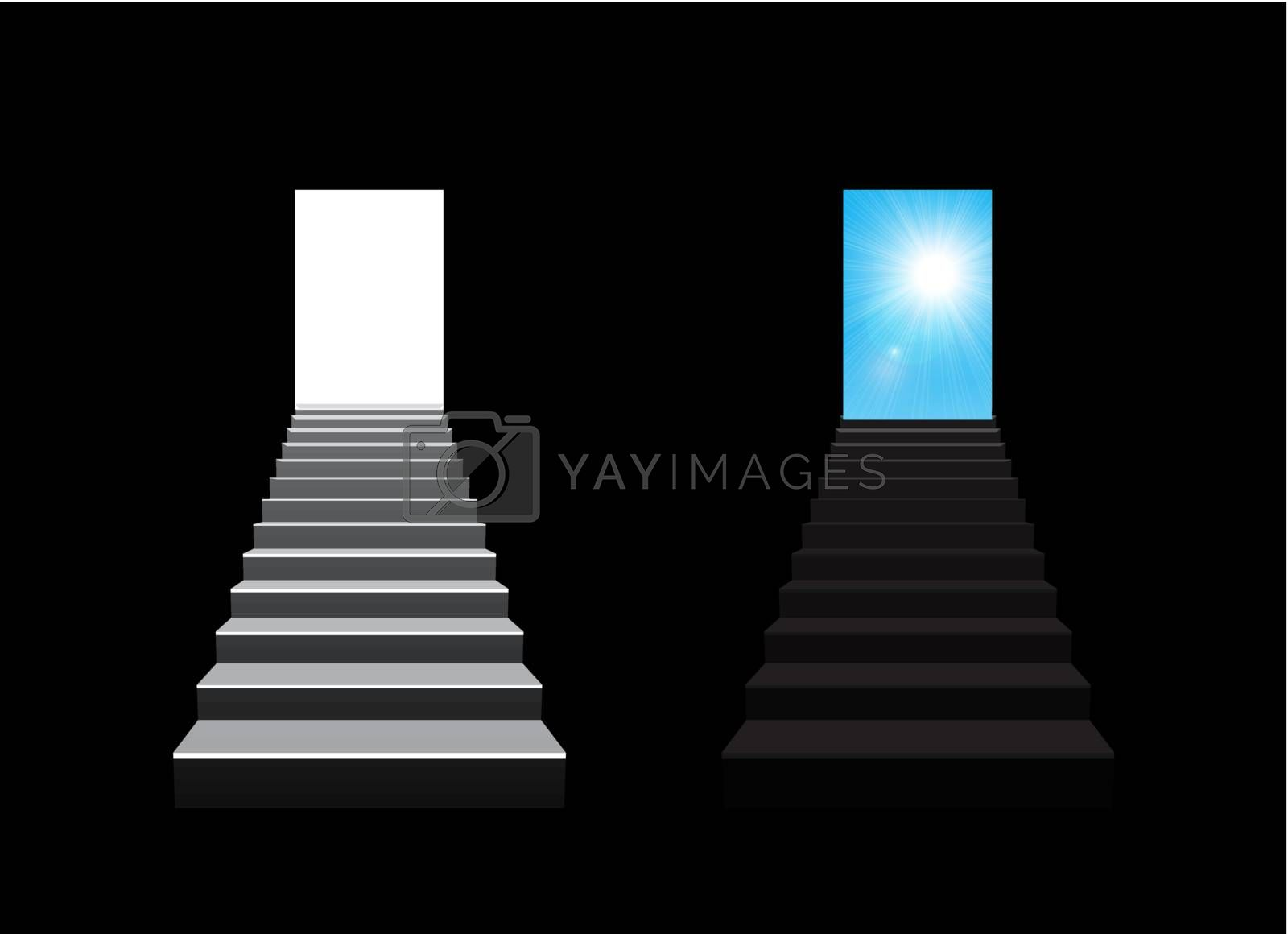 staircase concept vector illustration on black background