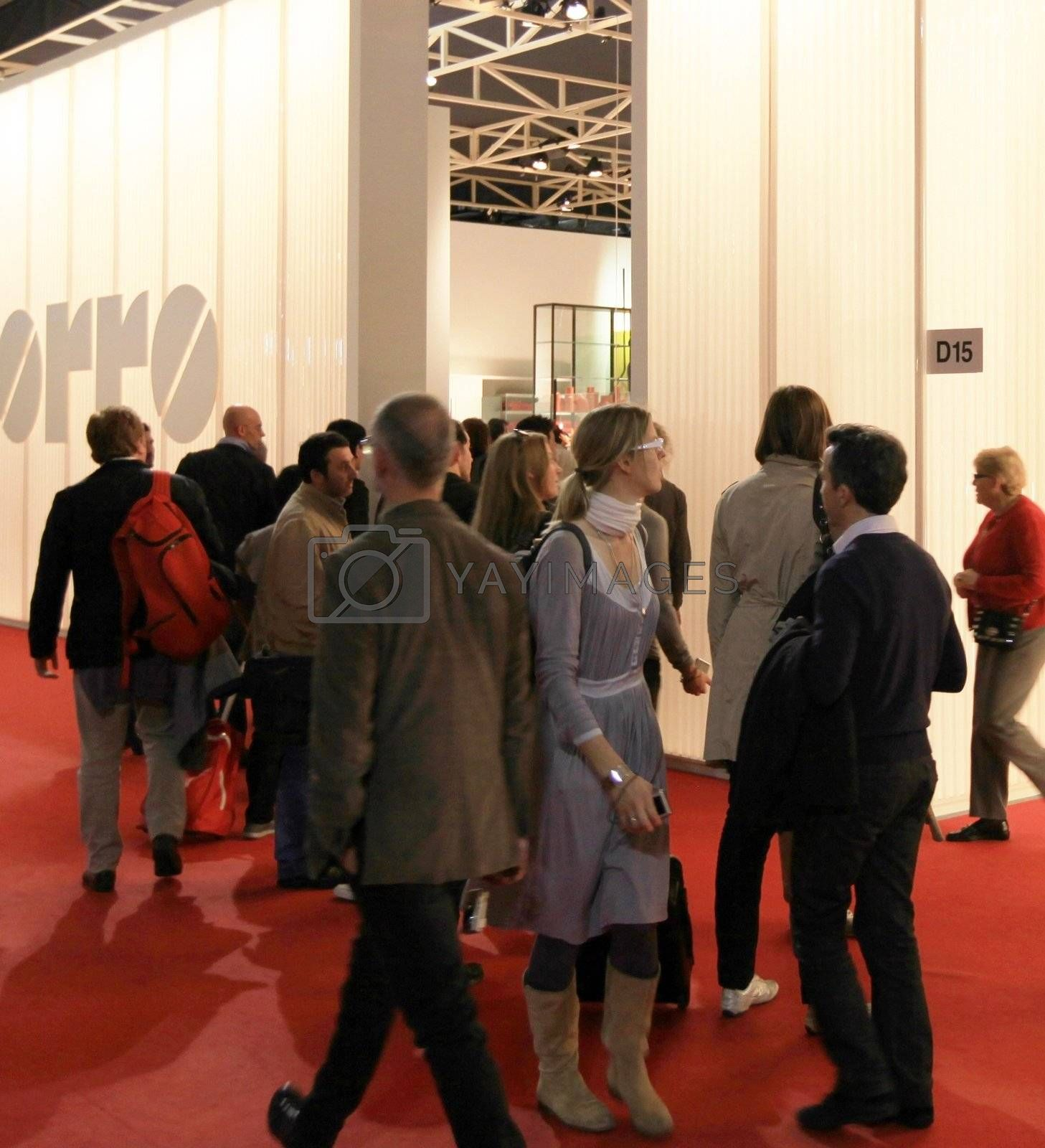 People, interiors design and architecture solutions at Salone del Mobile, international furnishing accessories exhibition in Milan, Italy.