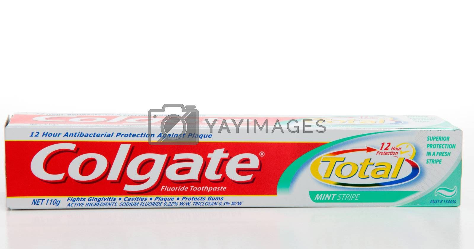Colgate Total Protect toothpaste.  Provides 12 hours of antibacterial protection, fights gingivitis, cavities, plaque and protects gums.  White background.  Editorial Use Only.