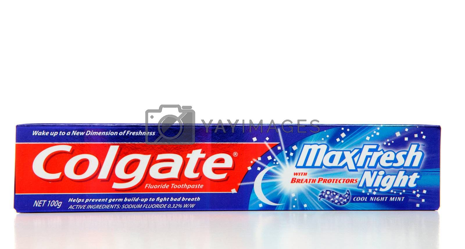 Colgate Max Fresh Night, cool mint fluoride toothpaste 100g.  Colgate has been around since 1806. White background.  Editorial Use Only.