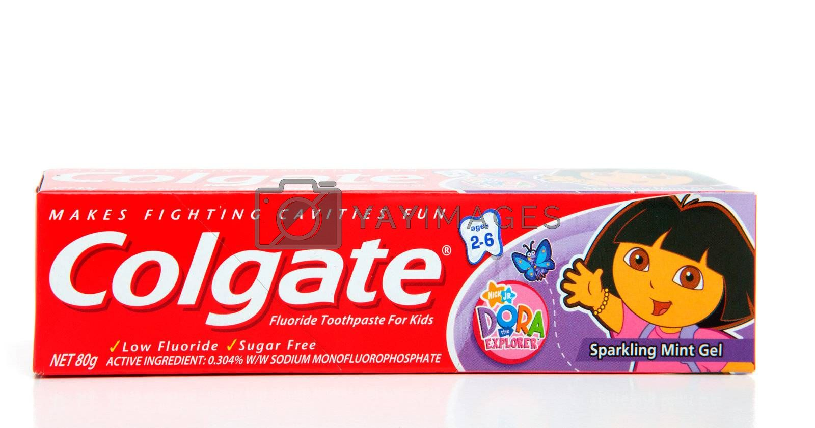 Colgate toothpaste sparkling mint gel for children ages 2 to 6 years old.  Low in fluoride and low in sugar.  White background.  Editorial use only.