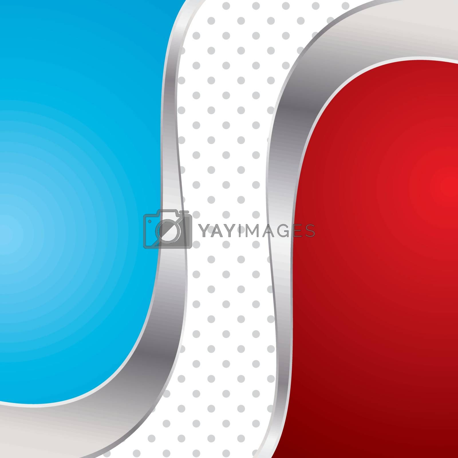 Vector illustration colorful abstract background. Trendy blue and red wave with metal frame.
