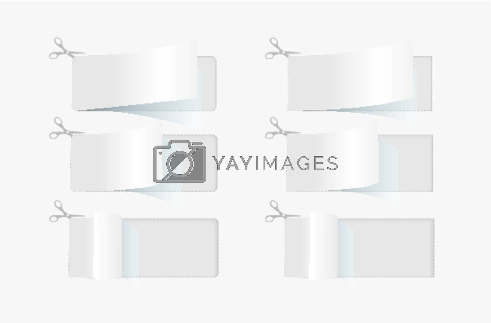 Advertising coupons with scissor symbol on gray background
