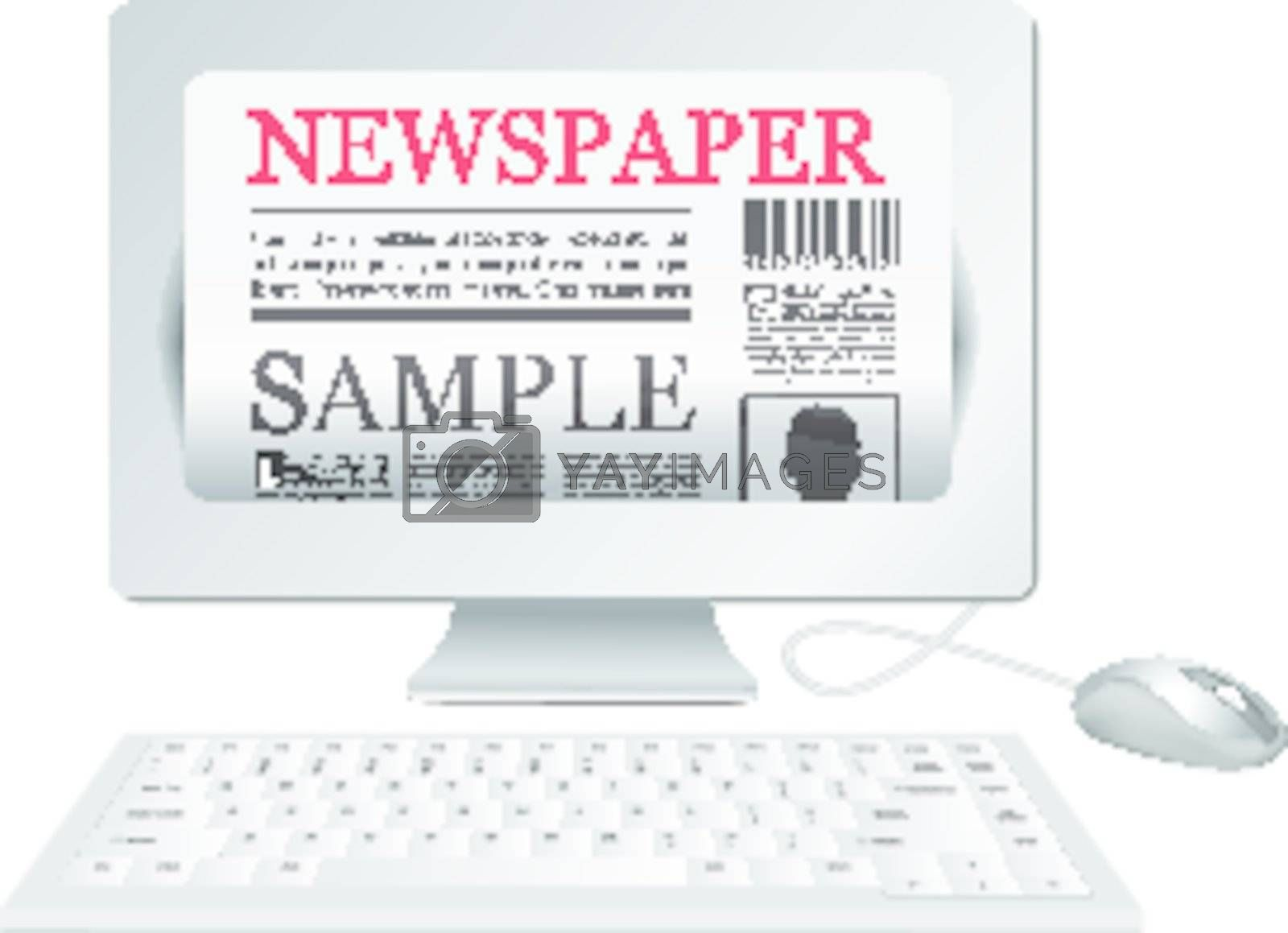 Online newspaper. Computer and news website on white