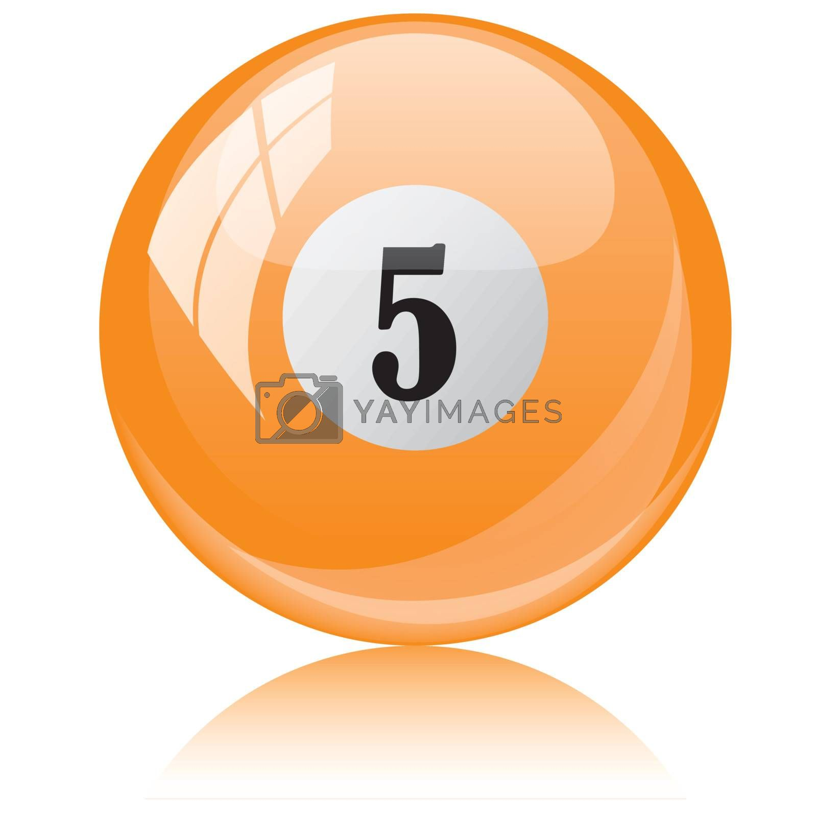 Vector illustration of a isolated glossy - five, orange - pool ball against white background.
