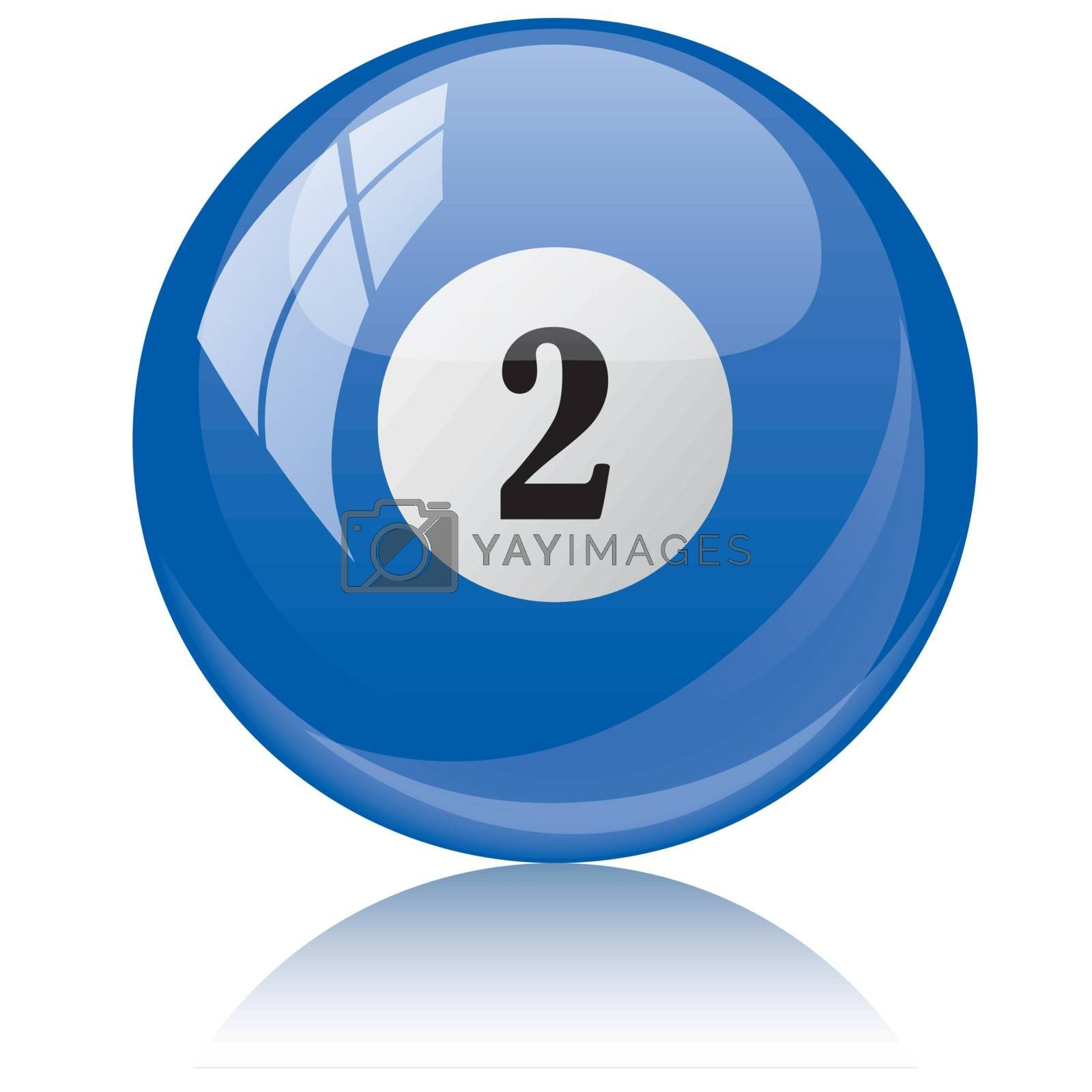 Vector illustration of a isolated glossy - two, blue - pool ball against white background.