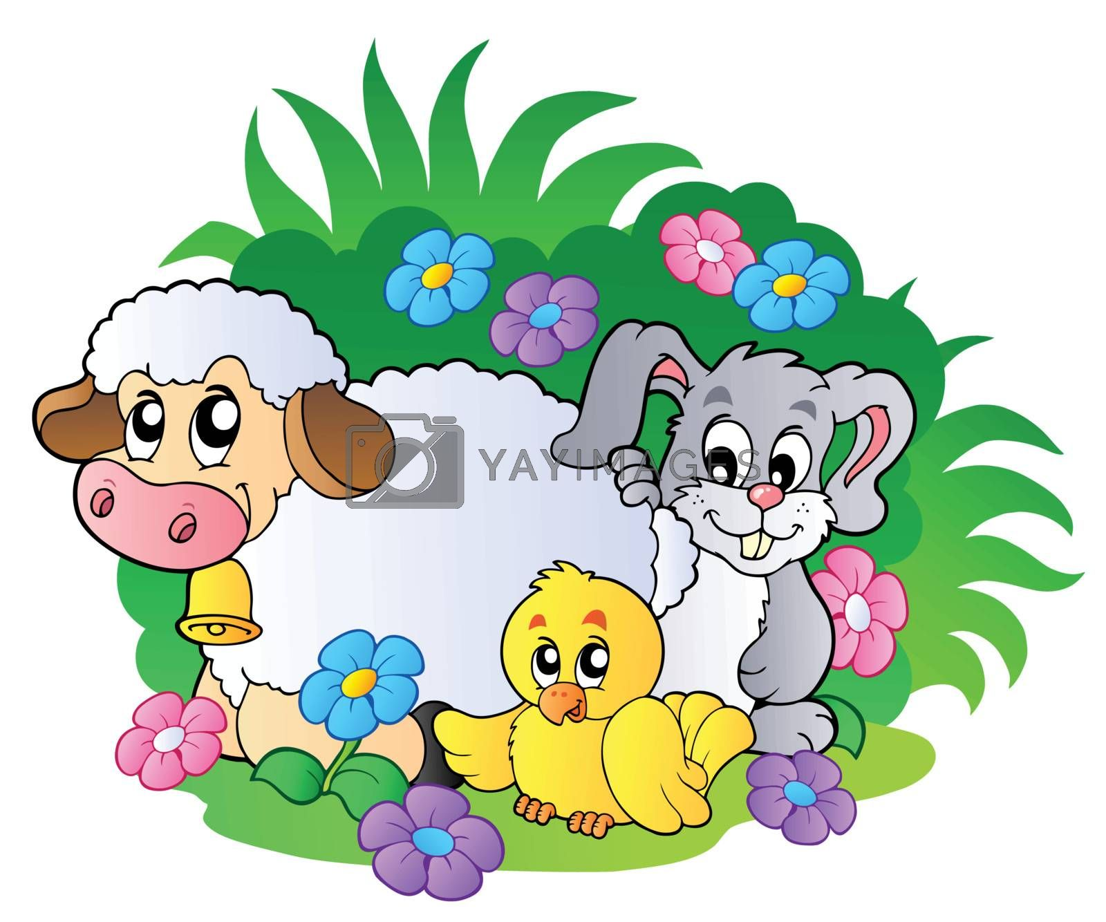 Group of spring animals - vector illustration.