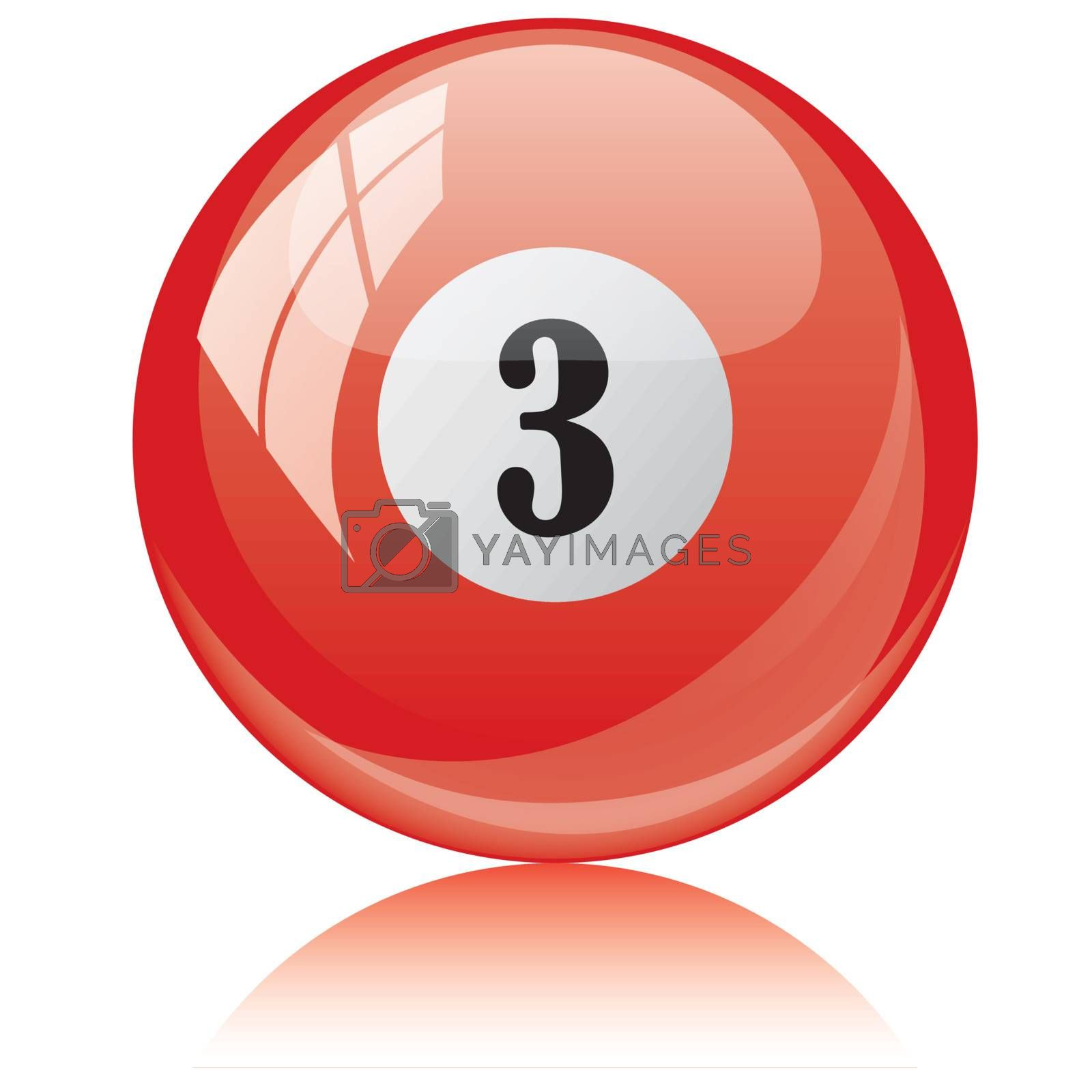 Vector illustration of a isolated glossy - three, red - pool ball against white background.