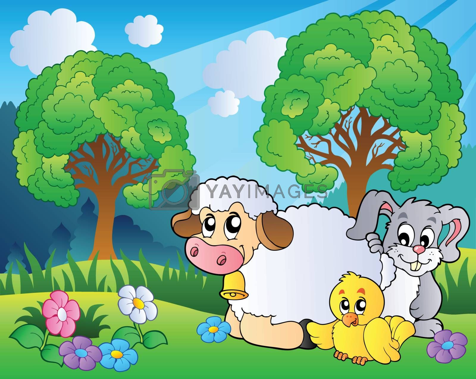Meadow with spring animals - vector illustration.