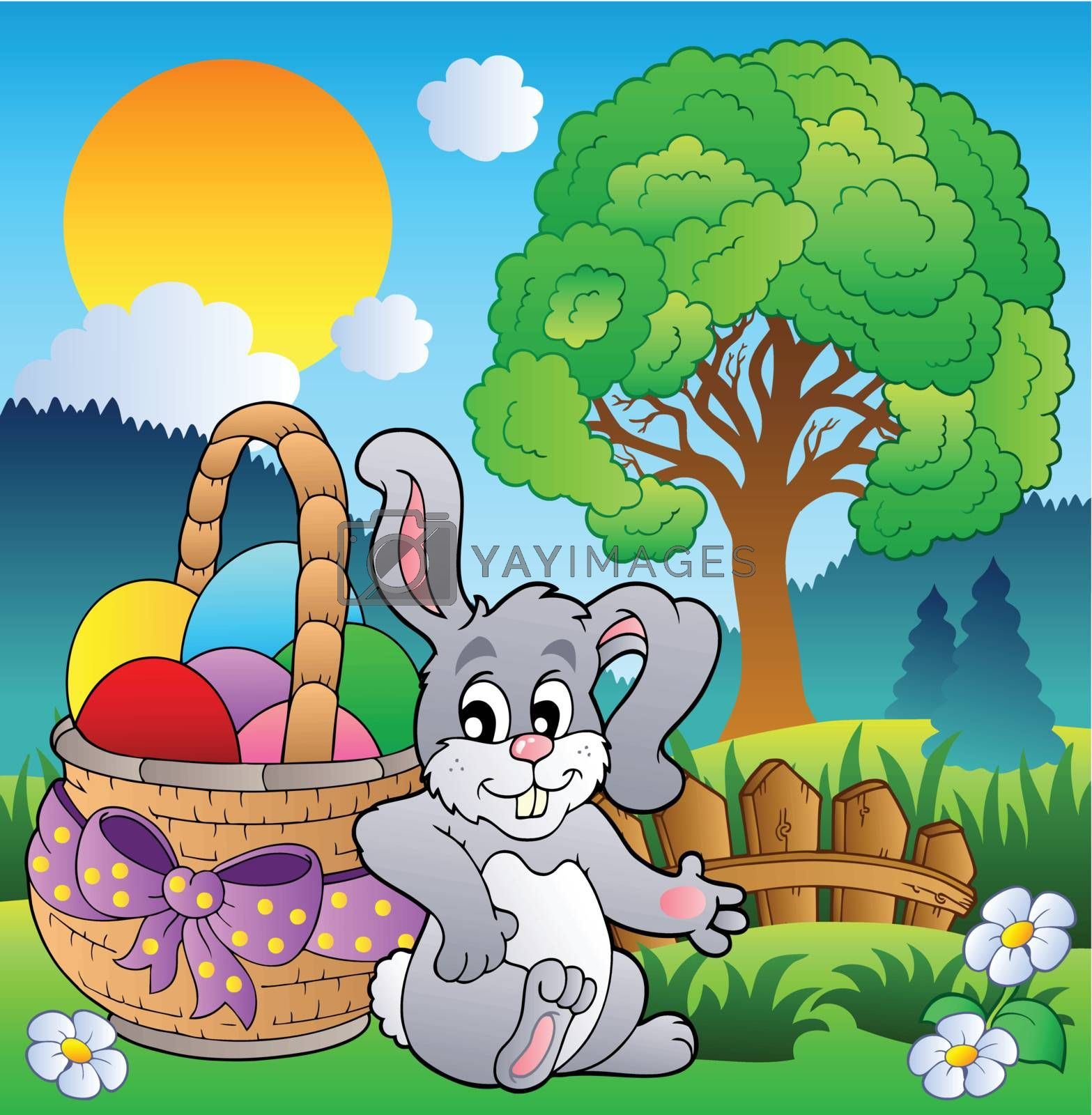 Spring meadow with bunny and basket - vector illustration.