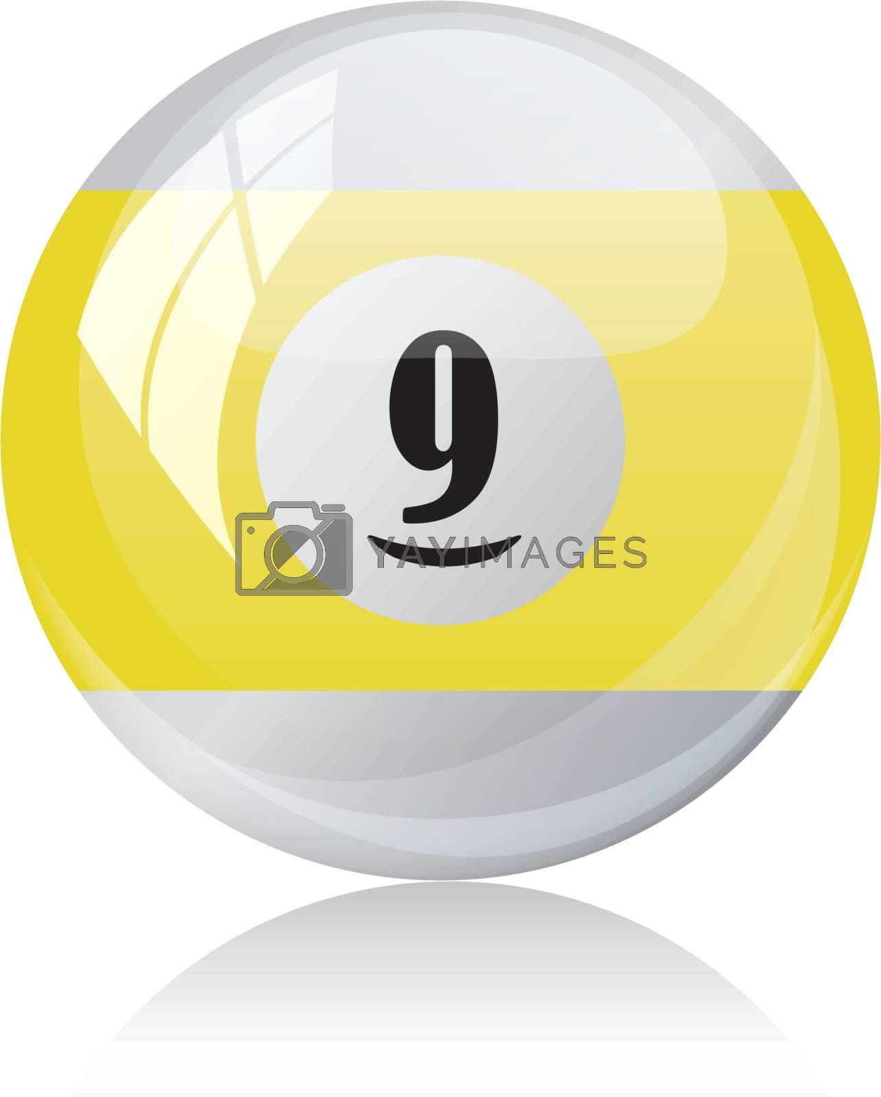 Vector illustration of a isolated glossy - nine, half-yellow - pool ball against white background.