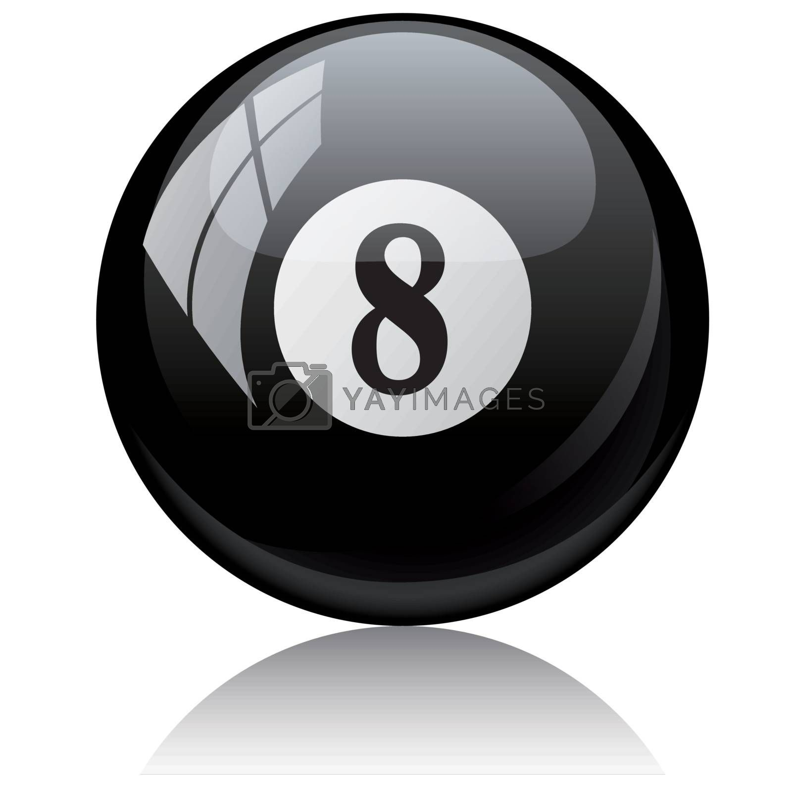 Vector illustration of a isolated glossy - eight, black - pool ball against white background.