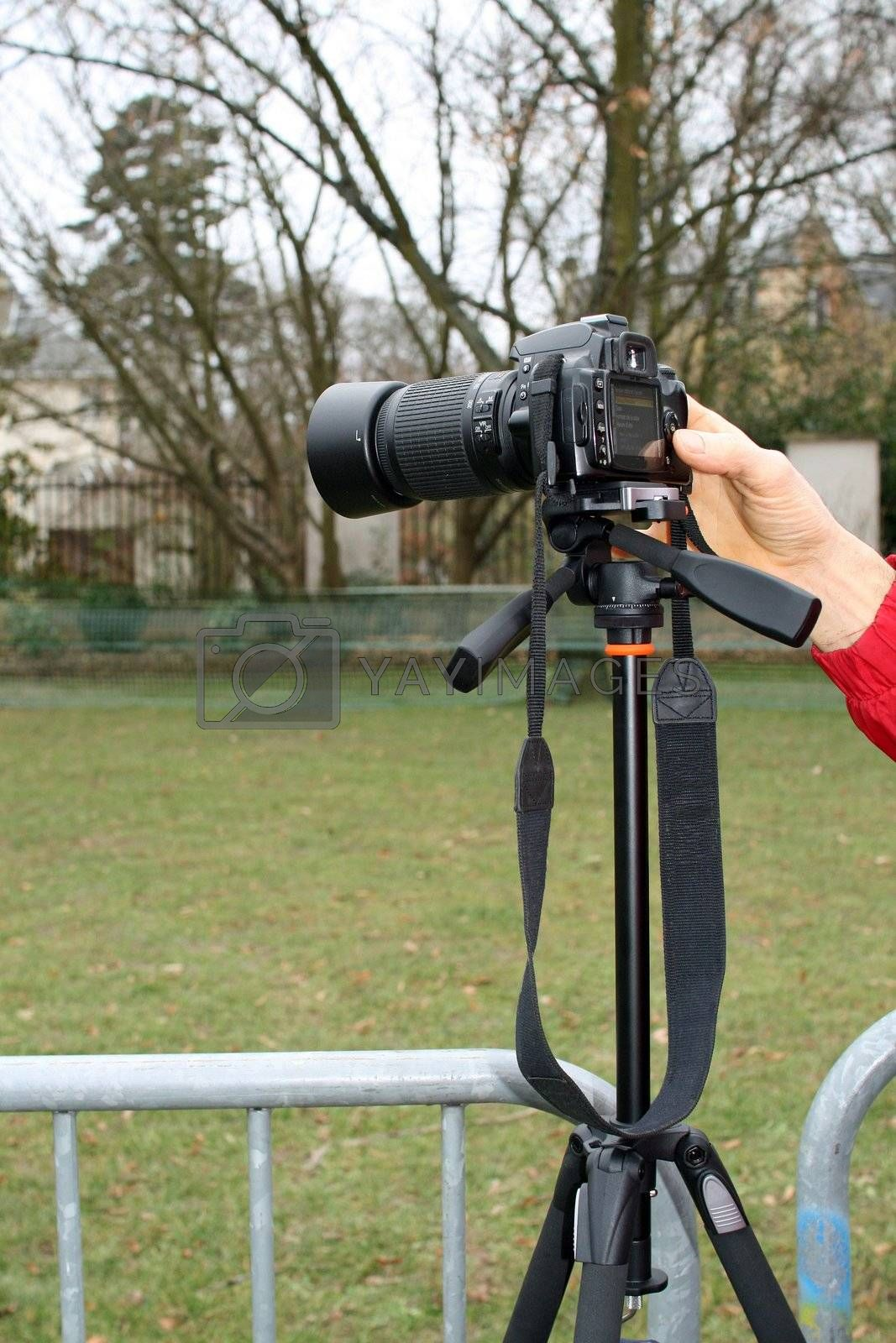 Photographer in action waiting for the beginning of the festivities