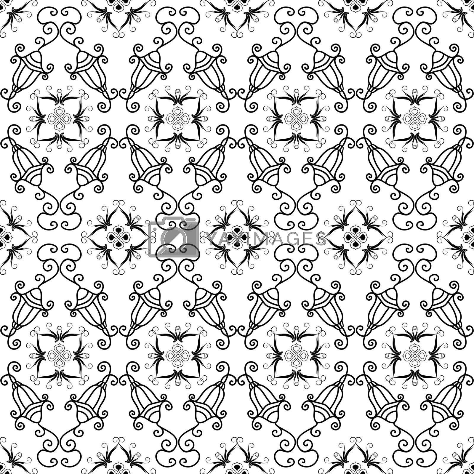 White and black christmas seamless pattern with small lamps and snowflakes (vector)