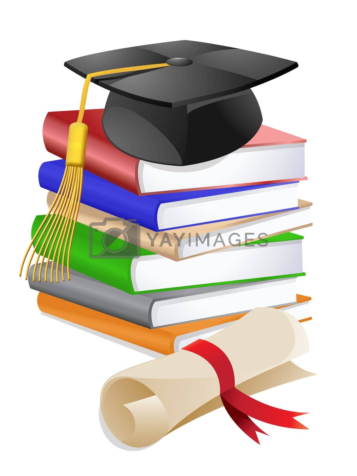 Graduation Cap on Stack of Reference Text Books with Diploma Illustration