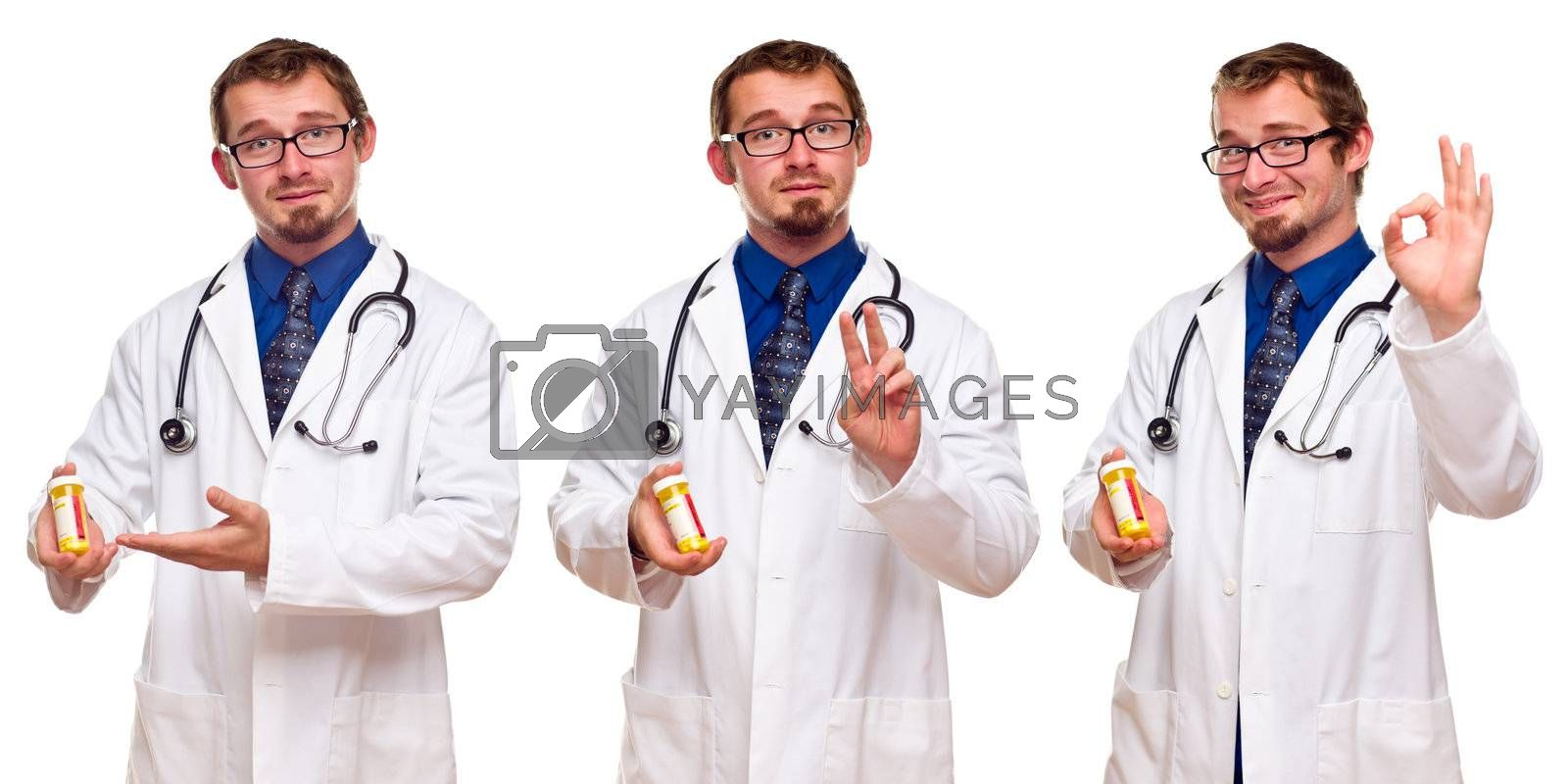 Set of Three Male Doctors with Prescription Bottle by Feverpitched