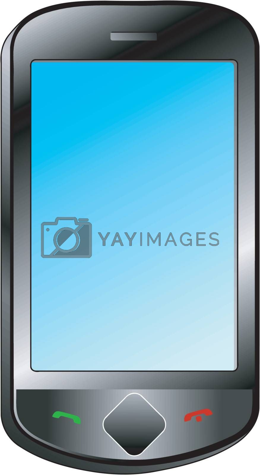 Illustration of touch smartphone on white background
