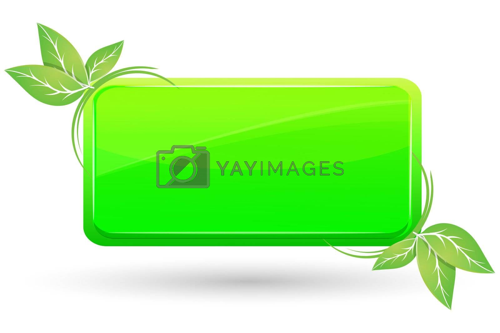 illustration of leaf with tag on white background